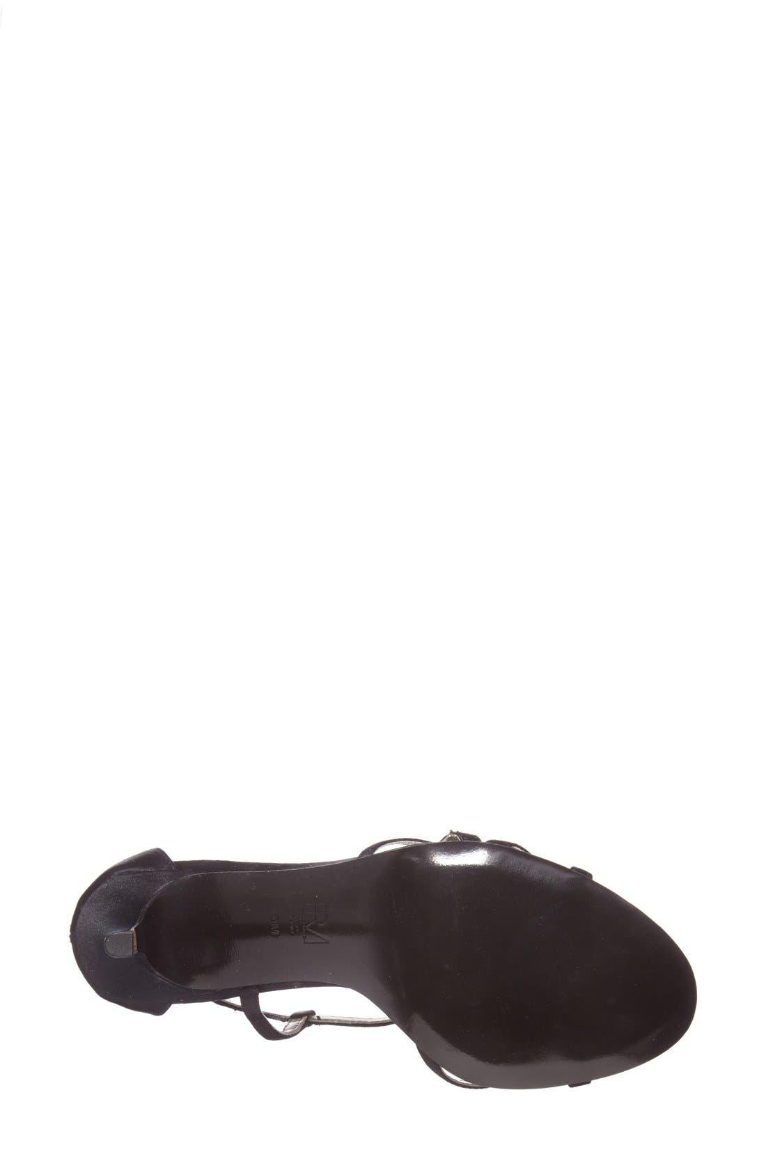 'Ruby' Strappy Sandal,                             Alternate thumbnail 3, color,                             BLACK SILK