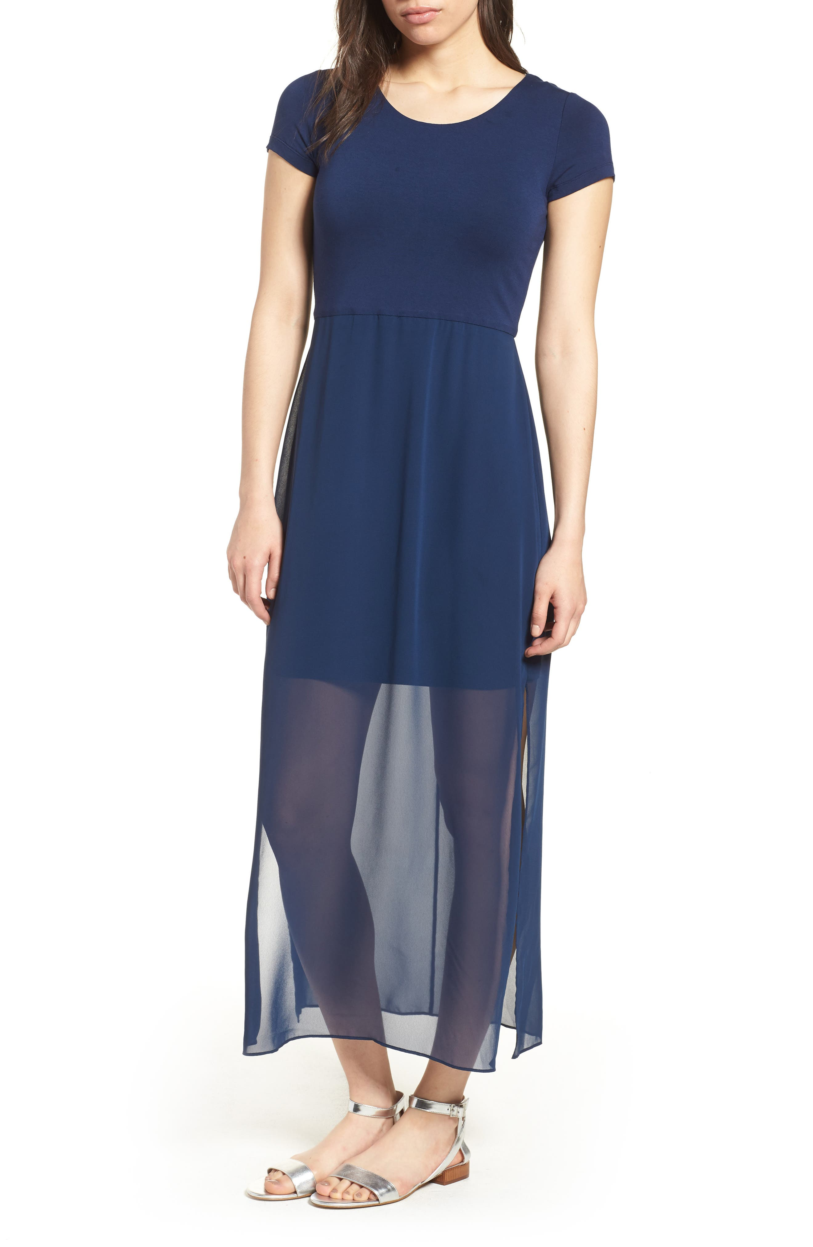 Chiffon Overlay Maxi Dress,                         Main,                         color, HIGH TIDE