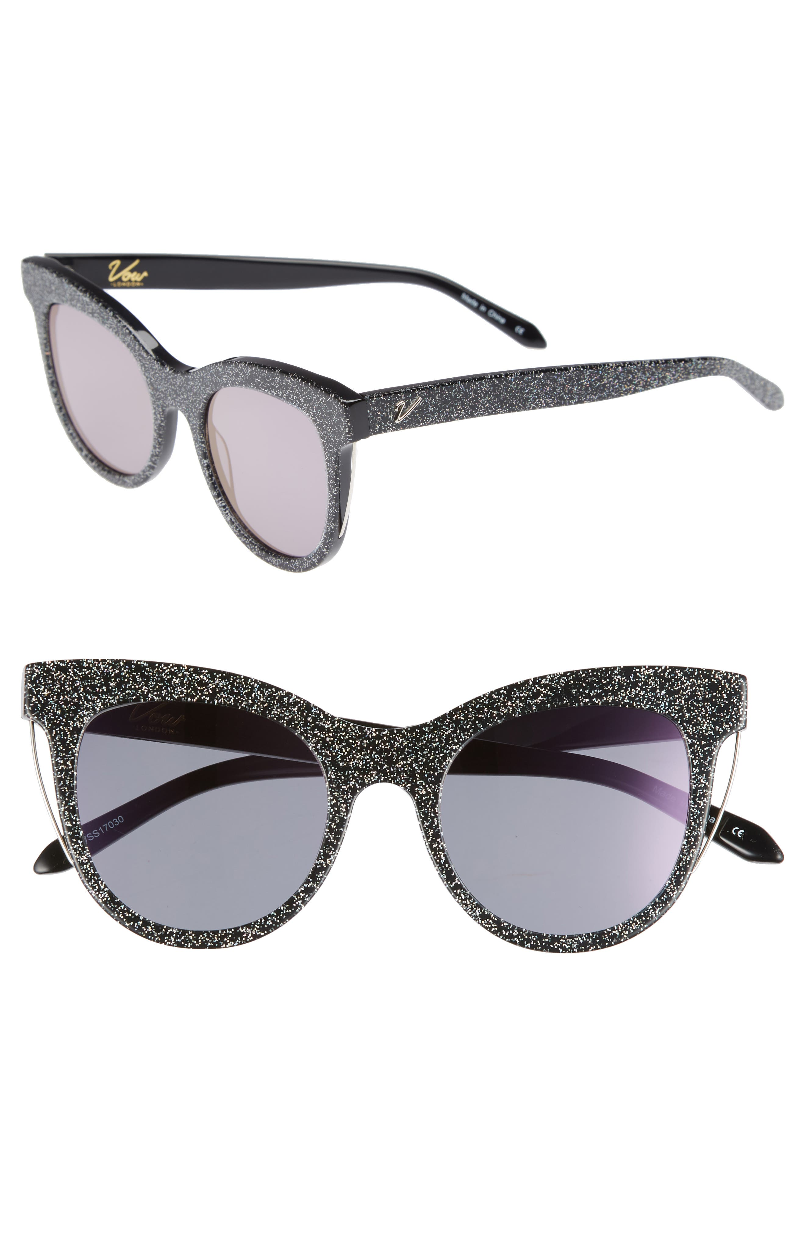 Sloane 52mm Cat Eye Sunglasses,                         Main,                         color, MULTI GLITTER/ PURPLE FLASH