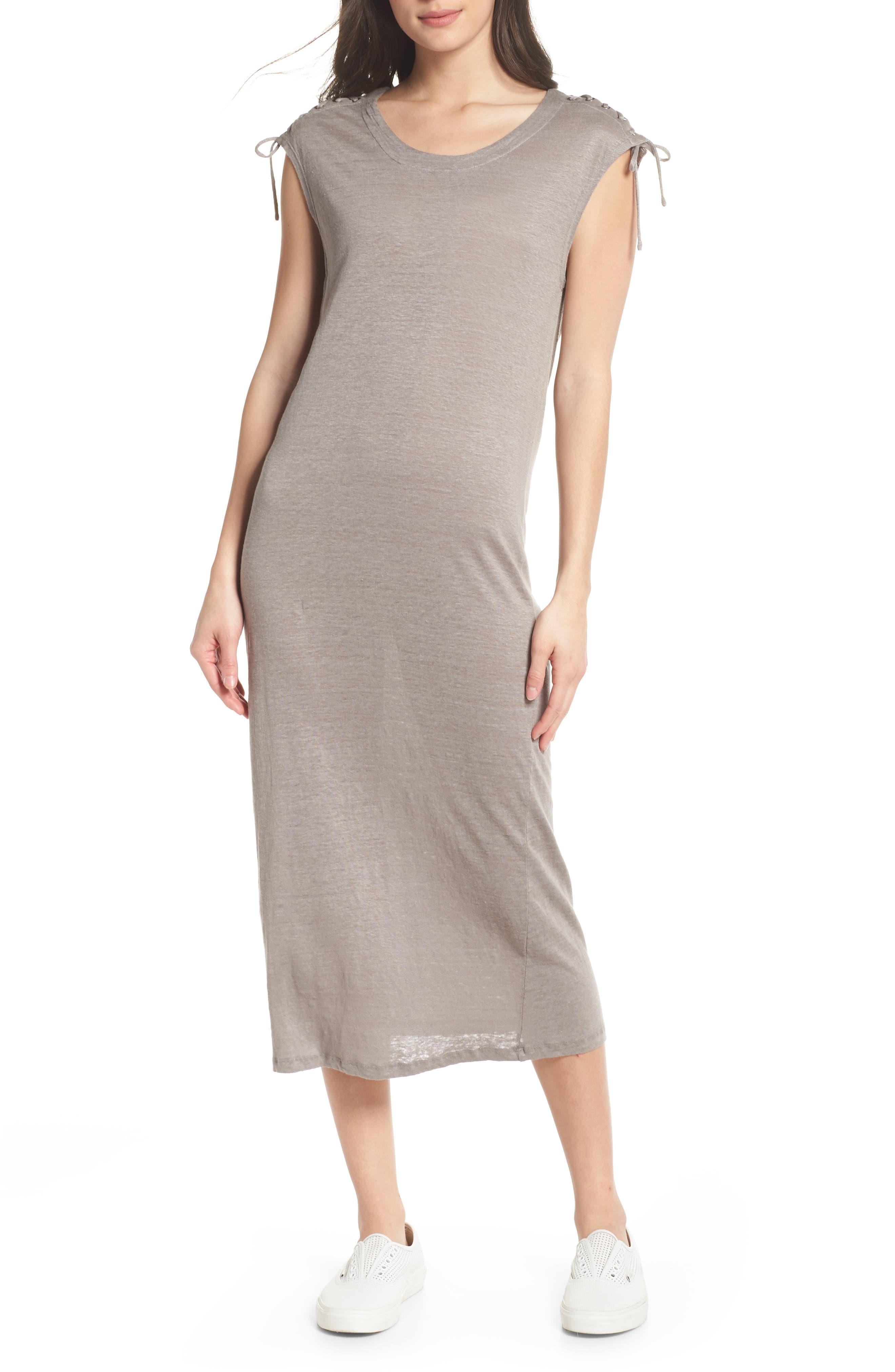 Lace-up Shoulder Jersey Midi Dress,                             Alternate thumbnail 6, color,