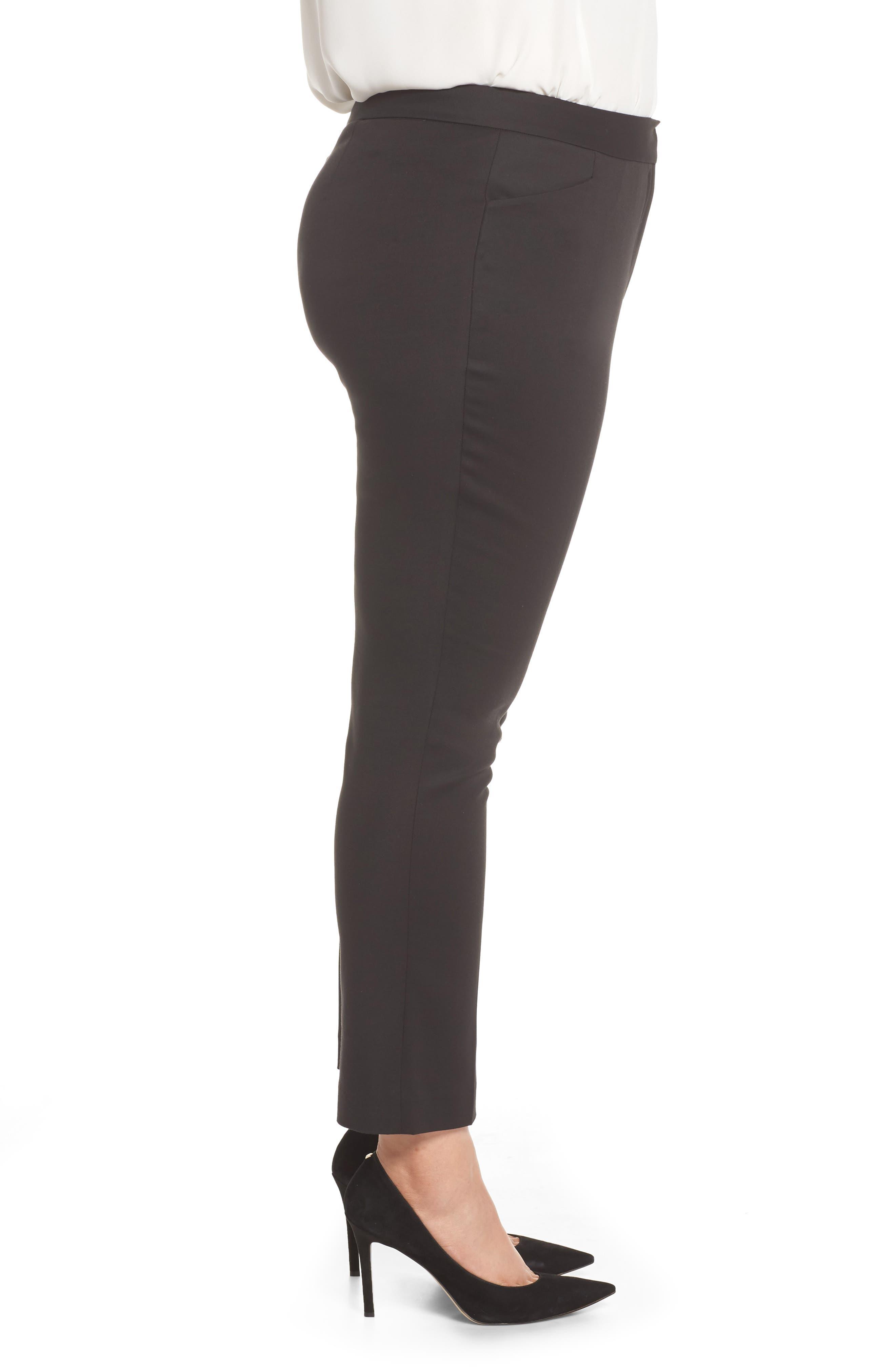 Stretch Cotton Blend Ankle Pants,                             Alternate thumbnail 3, color,                             RICH BLACK