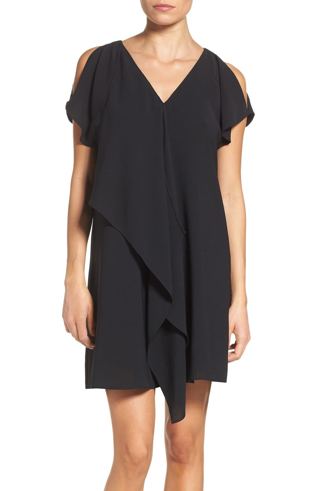 Cold Shoulder Draped Shift Dress,                             Main thumbnail 1, color,                             002