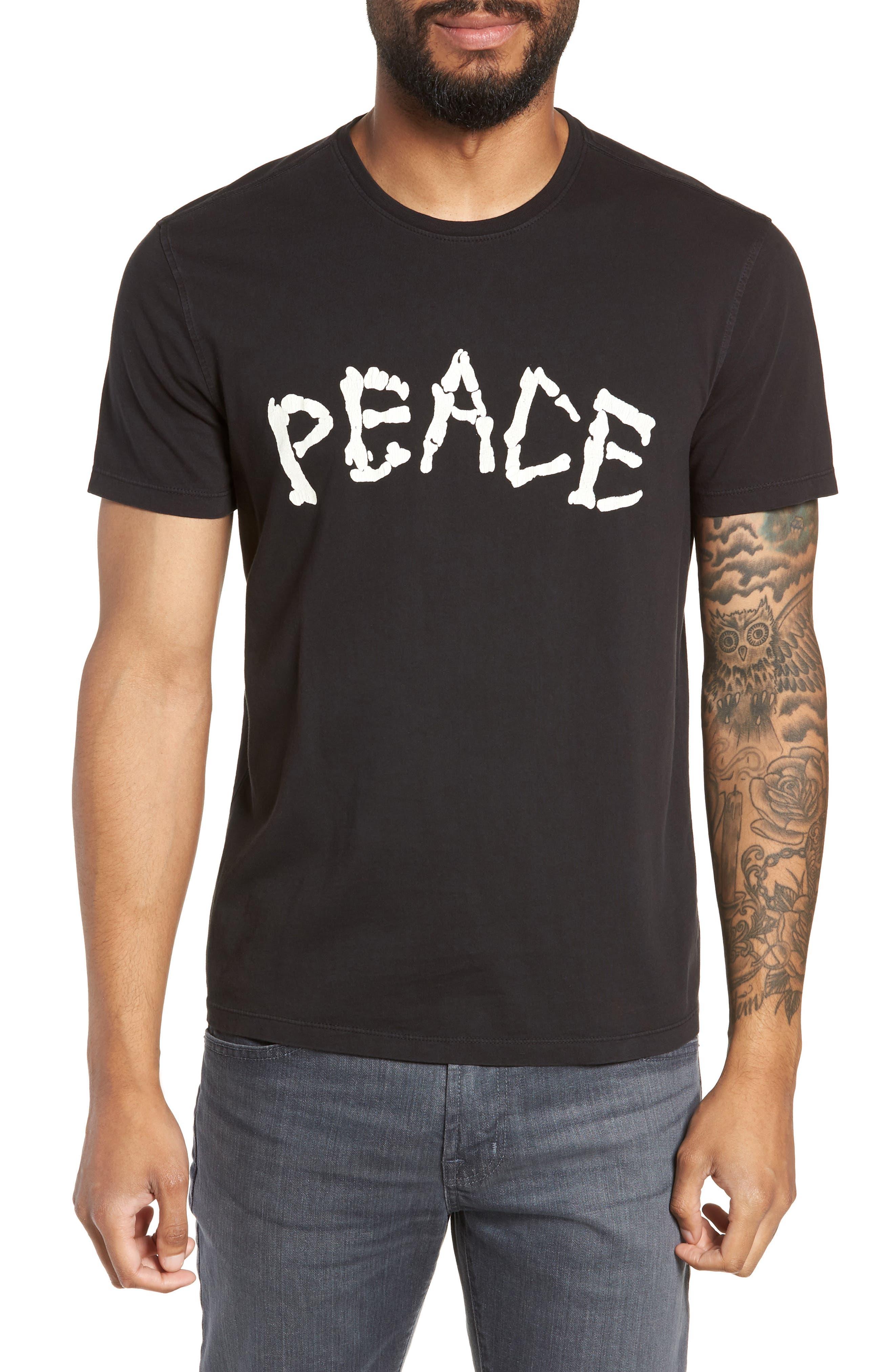 Skeleton Peace Graphic T-Shirt,                             Main thumbnail 1, color,                             BLACK