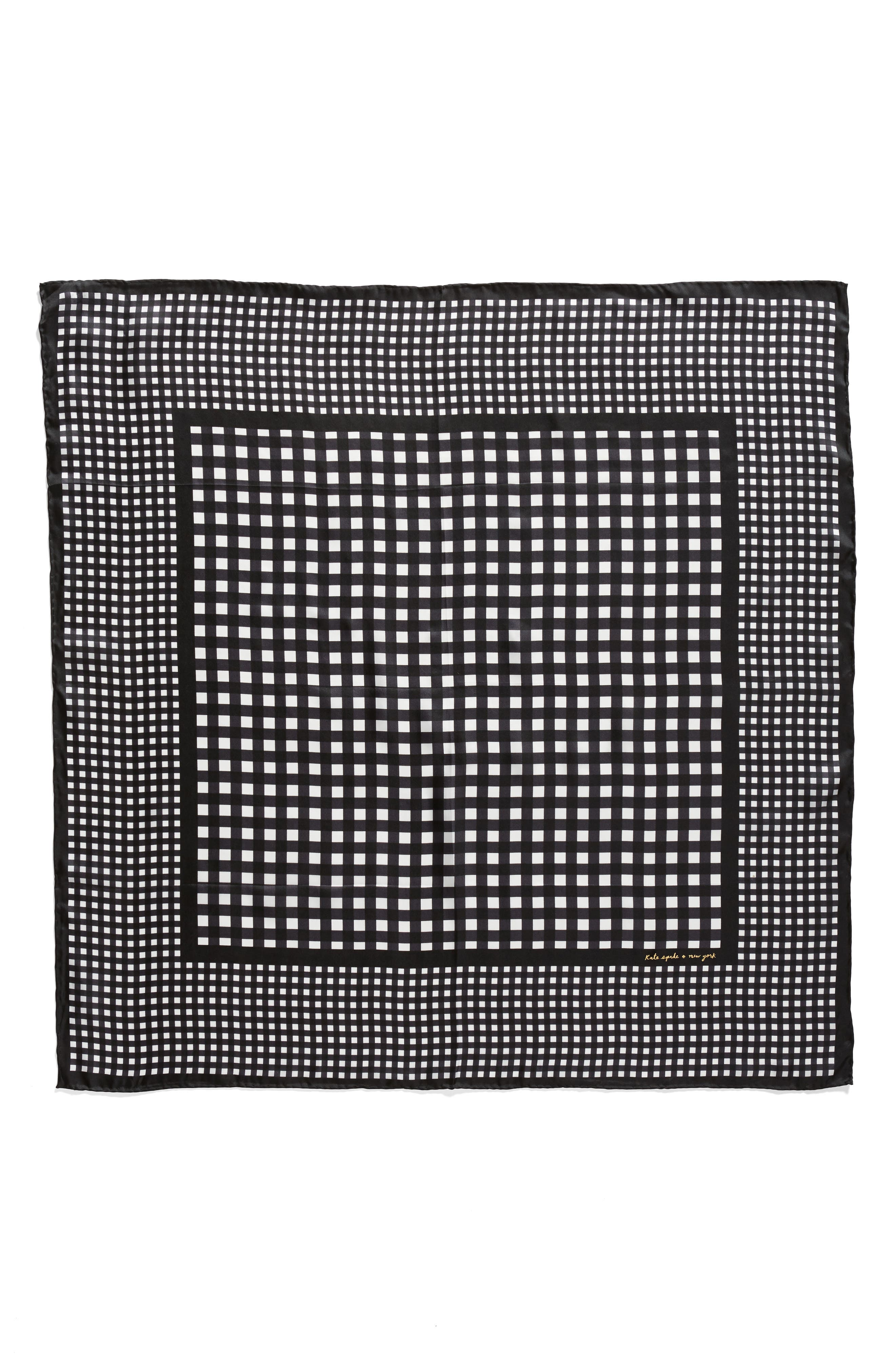 gingham square silk scarf,                             Alternate thumbnail 3, color,                             001