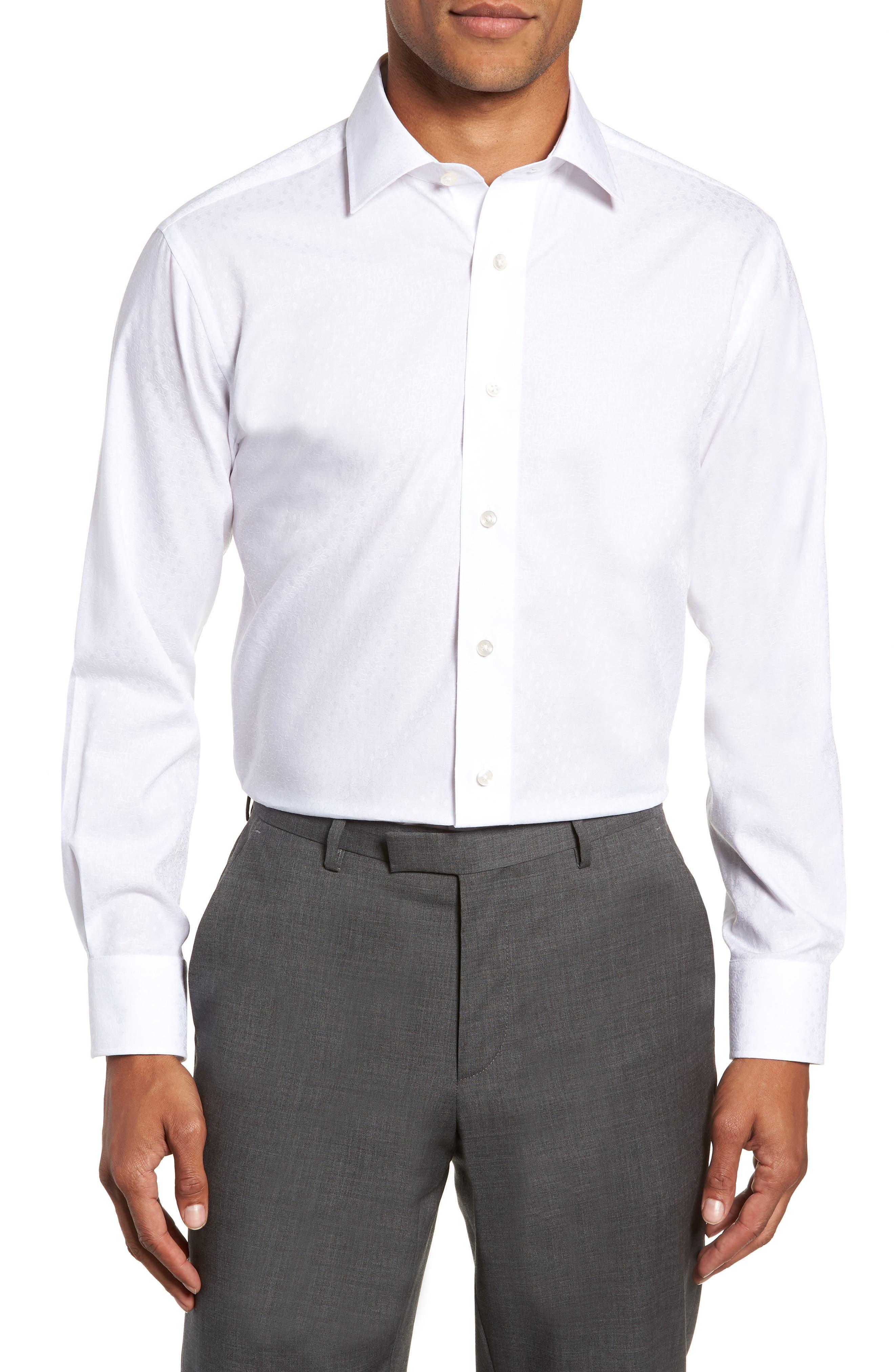 Trim Fit Floral Dress Shirt,                         Main,                         color, 100