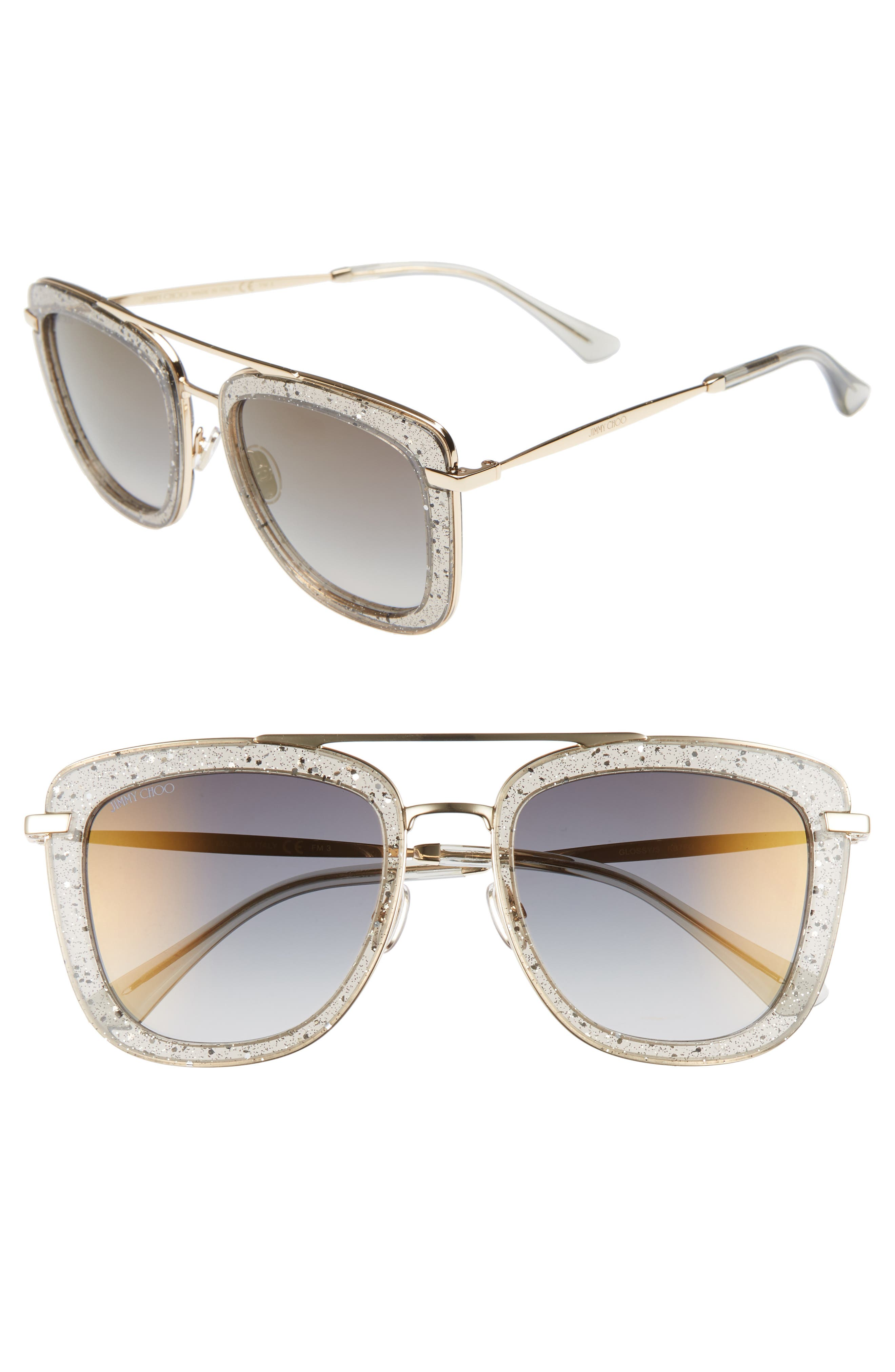 Jimmy Choo Glossy 5m Square Sunglasses - Grey/ Gold