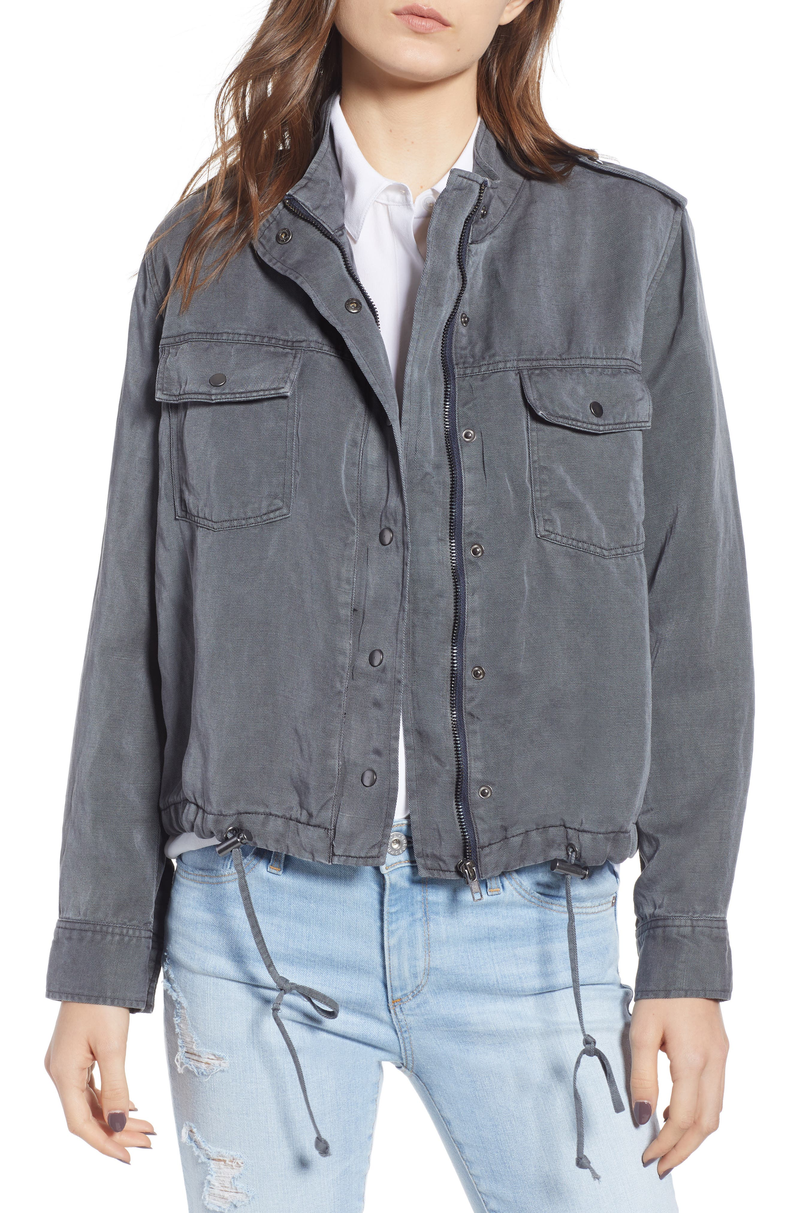Collins Military Jacket,                         Main,                         color, LIGHT CHARCOAL