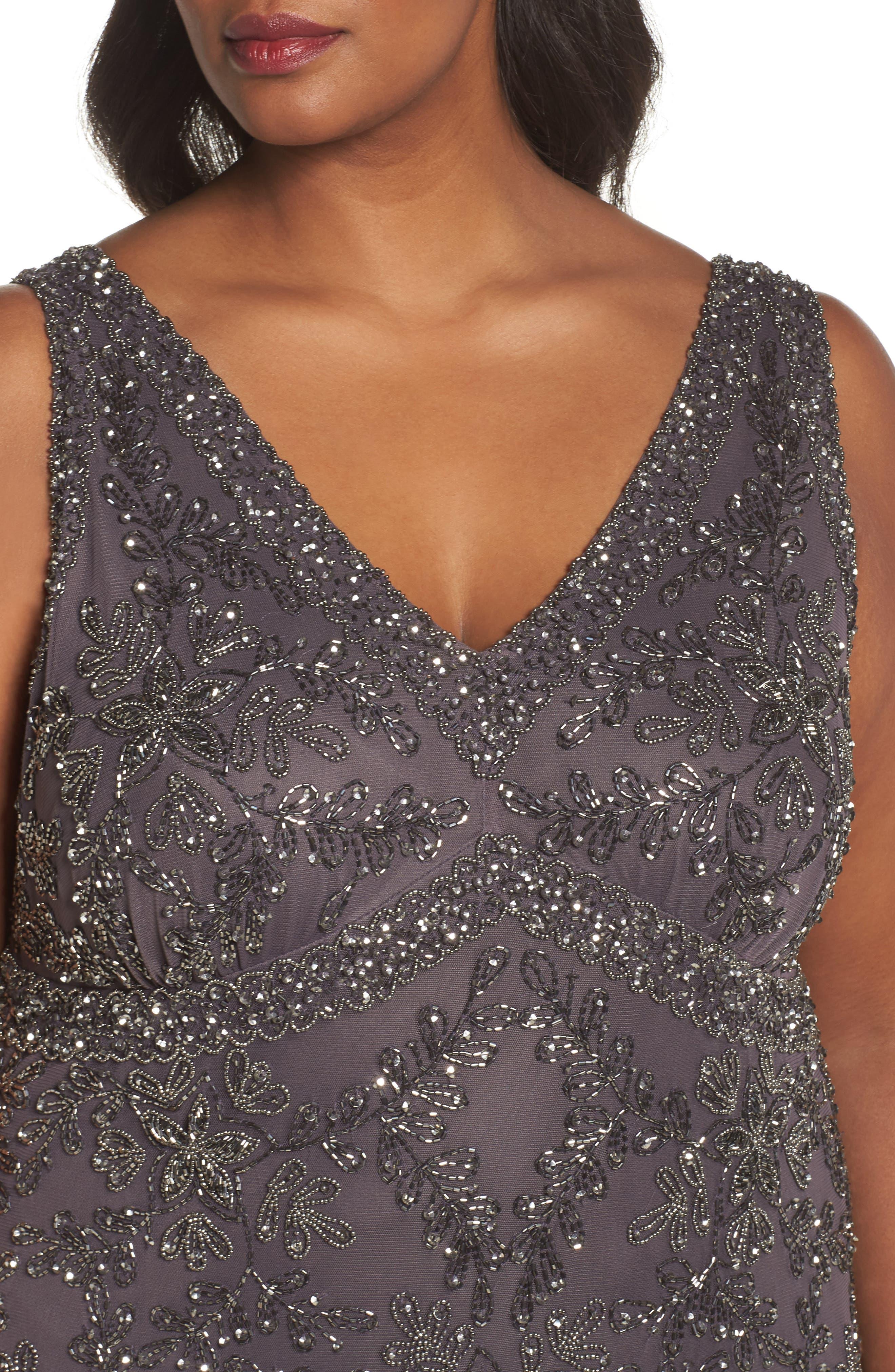 Beaded V-Neck Gown,                             Alternate thumbnail 4, color,                             020