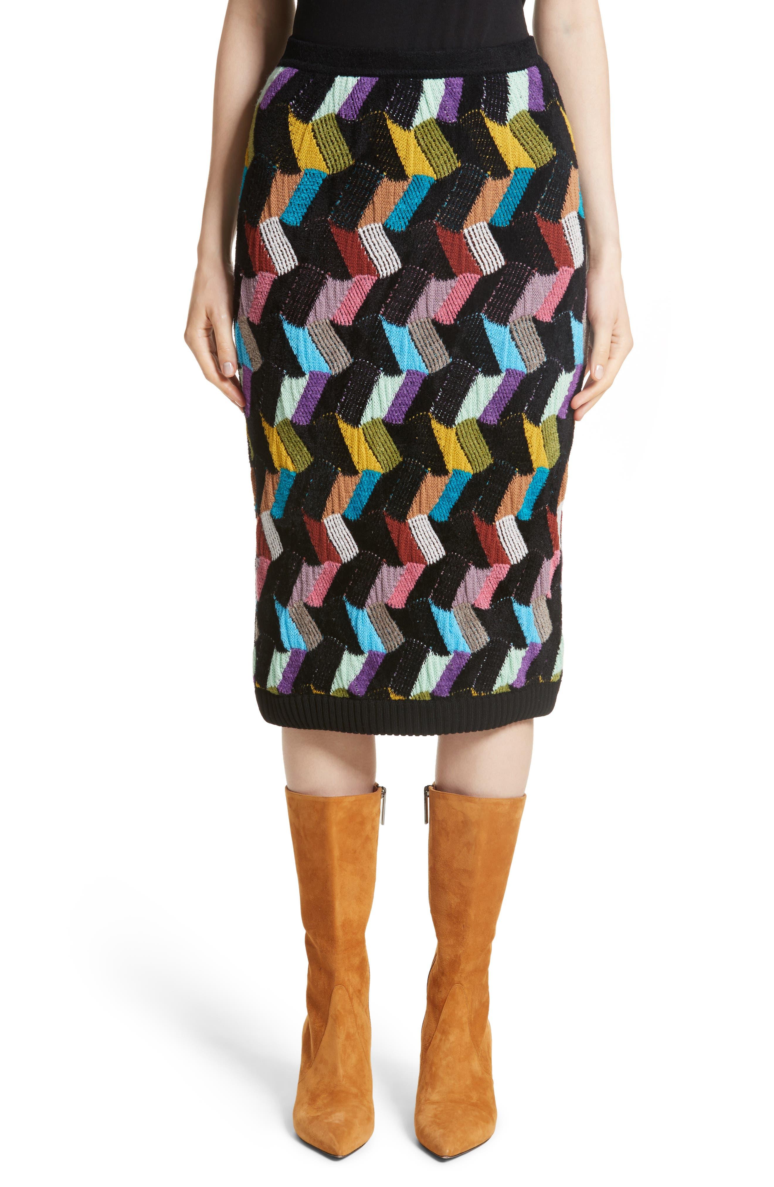 Multi Knit Pencil Skirt,                             Main thumbnail 1, color,                             001
