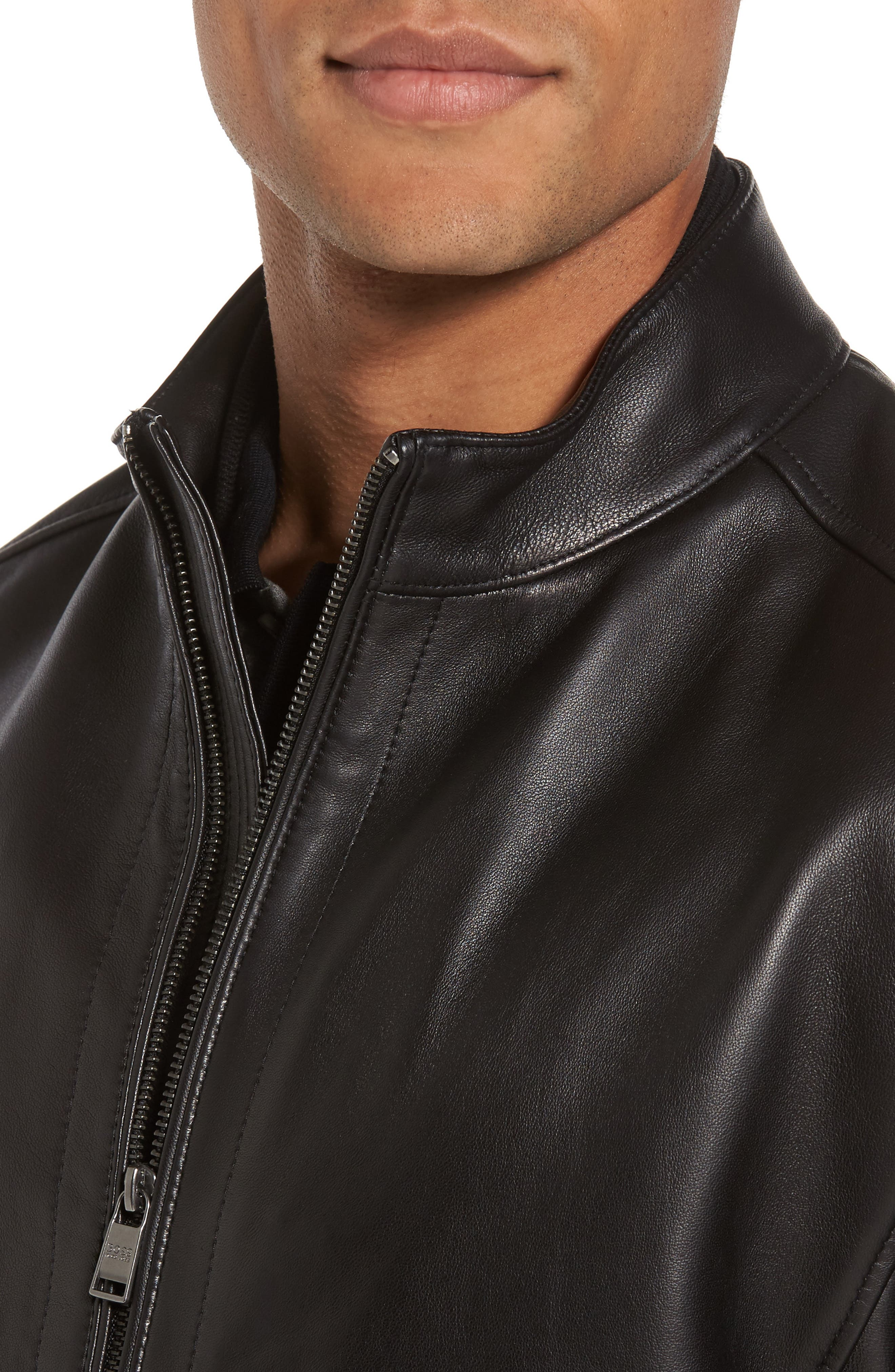 Collar Inset Leather Jacket,                             Alternate thumbnail 4, color,                             001