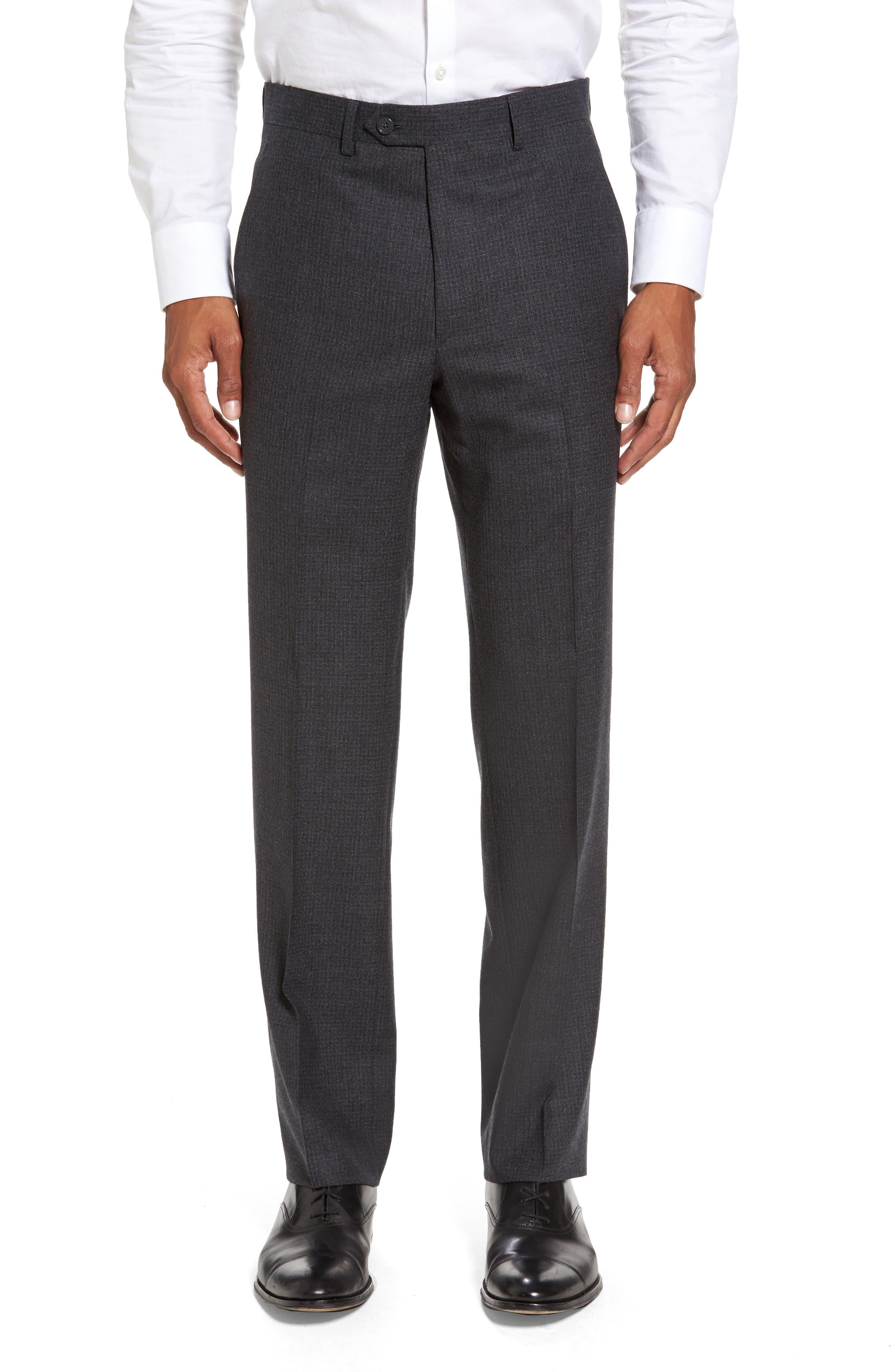 Romero Regular Fit Flat Front Trousers,                             Main thumbnail 1, color,                             010