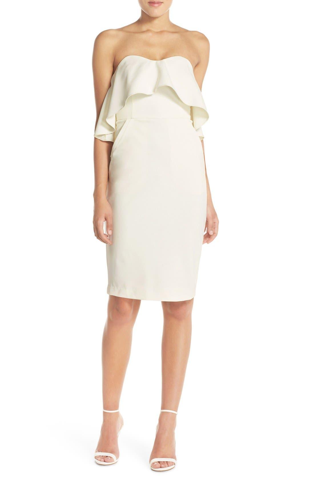 Ruffle Stretch Crepe Sheath Dress,                             Alternate thumbnail 18, color,