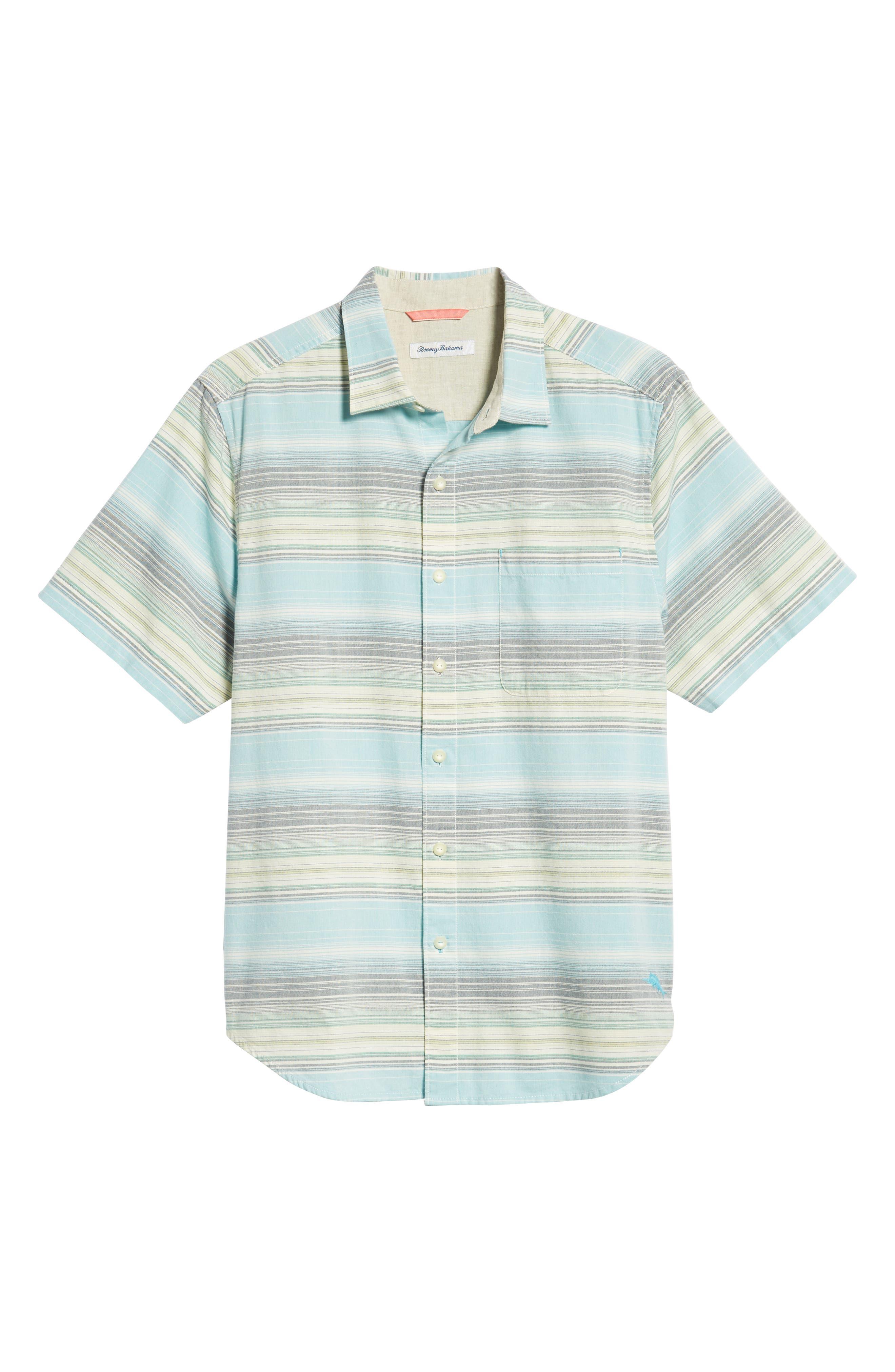 Somara Stripe Sport Shirt,                             Alternate thumbnail 5, color,                             AQUA MIST