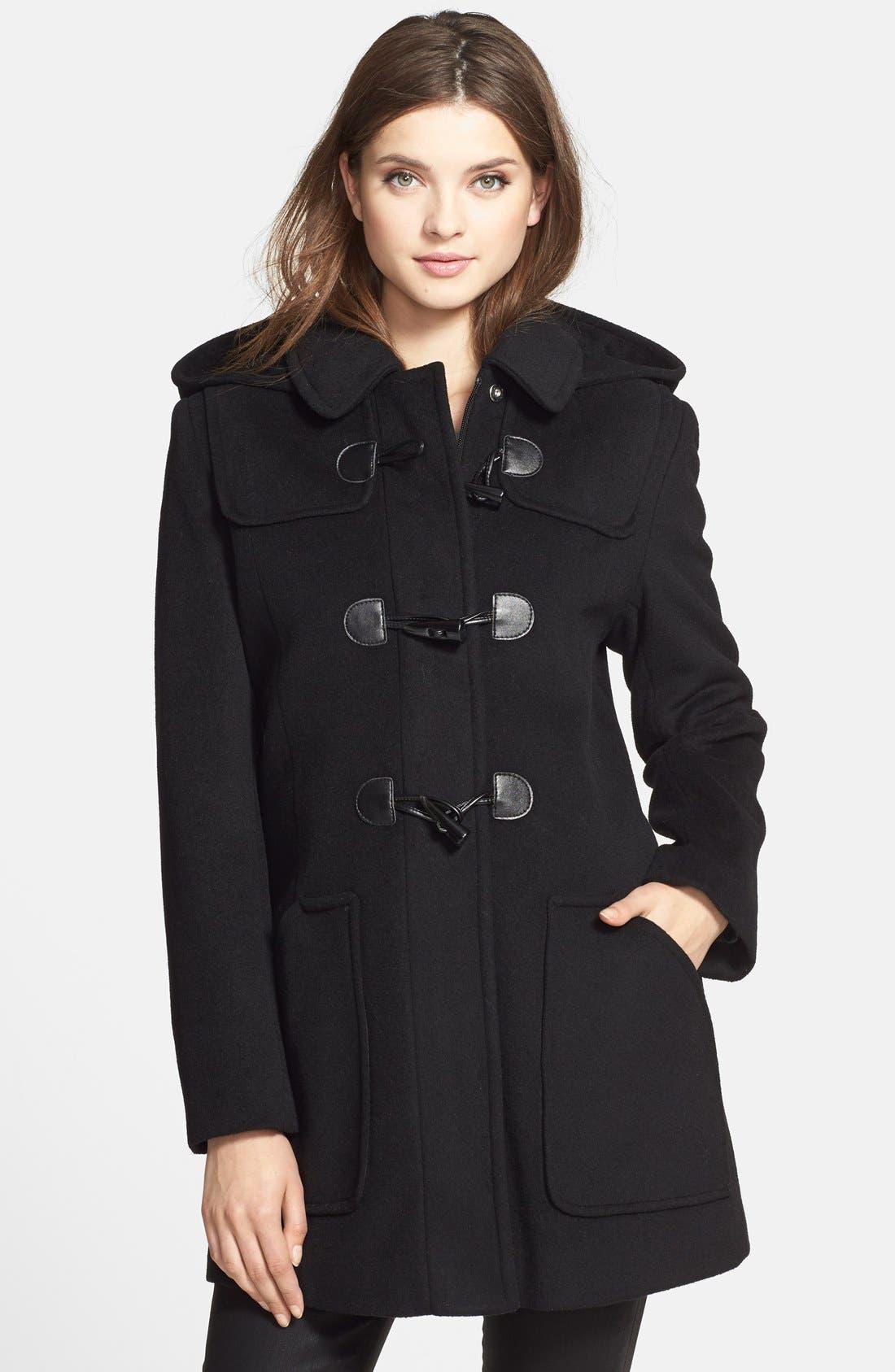 Removable Hood Wool Blend Duffle Coat,                             Main thumbnail 1, color,                             001