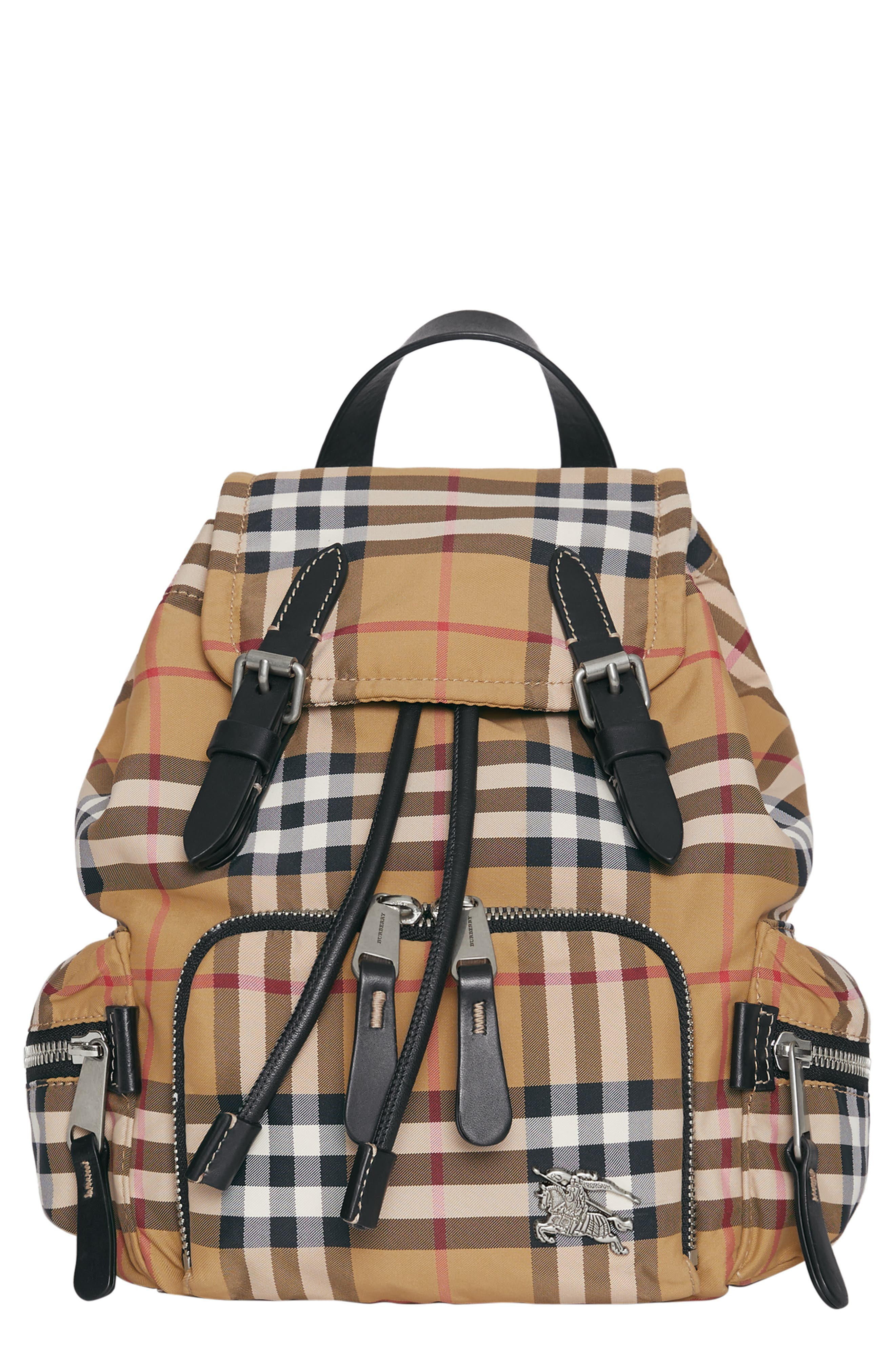 BURBERRY,                             Small Rucksack Vintage Check Nylon Backpack,                             Main thumbnail 1, color,                             ANTIQUE YELLOW/ BLACK
