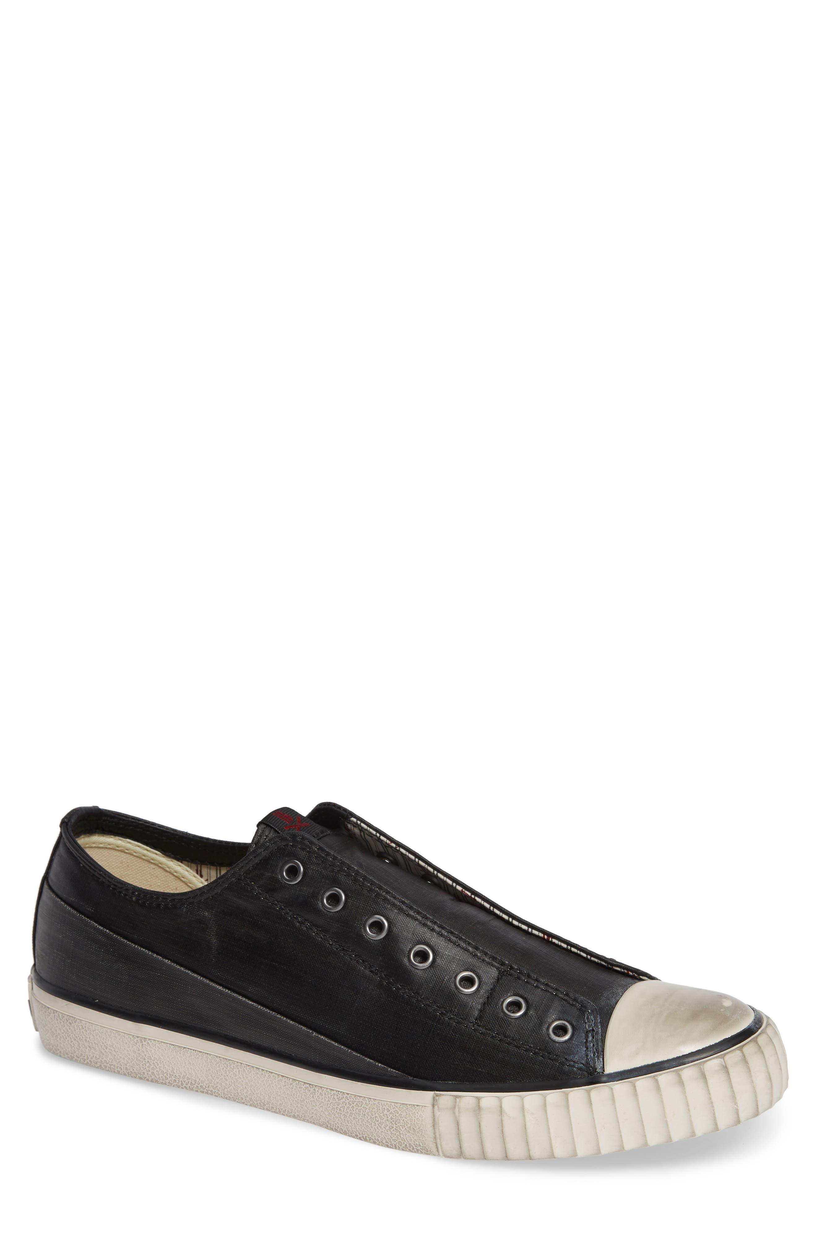 Bootleg Linen Laceless Sneaker,                             Main thumbnail 1, color,                             BLACK COATED LINEN
