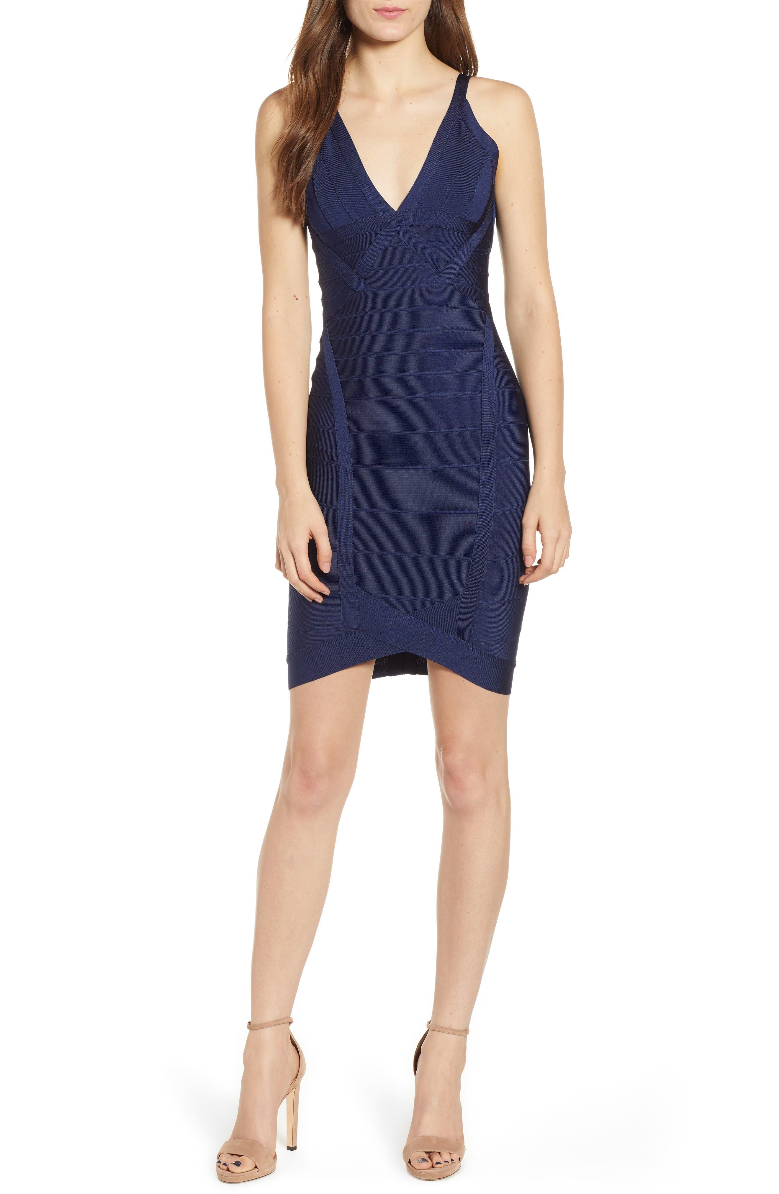Bandage Body-Con Dress,                         Main,                         color, NAVY BLUE