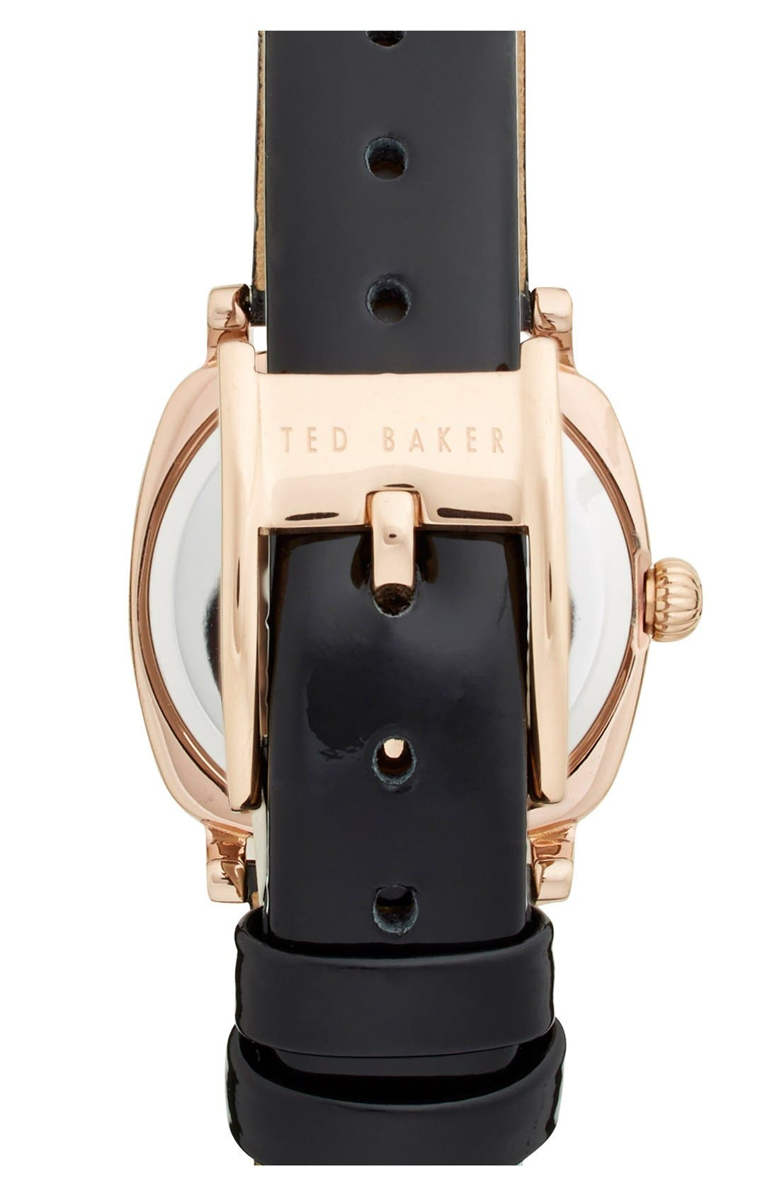 'Mini Jewels' Crystal Index Patent Leather Strap Watch, 26mm,                             Alternate thumbnail 3, color,                             001