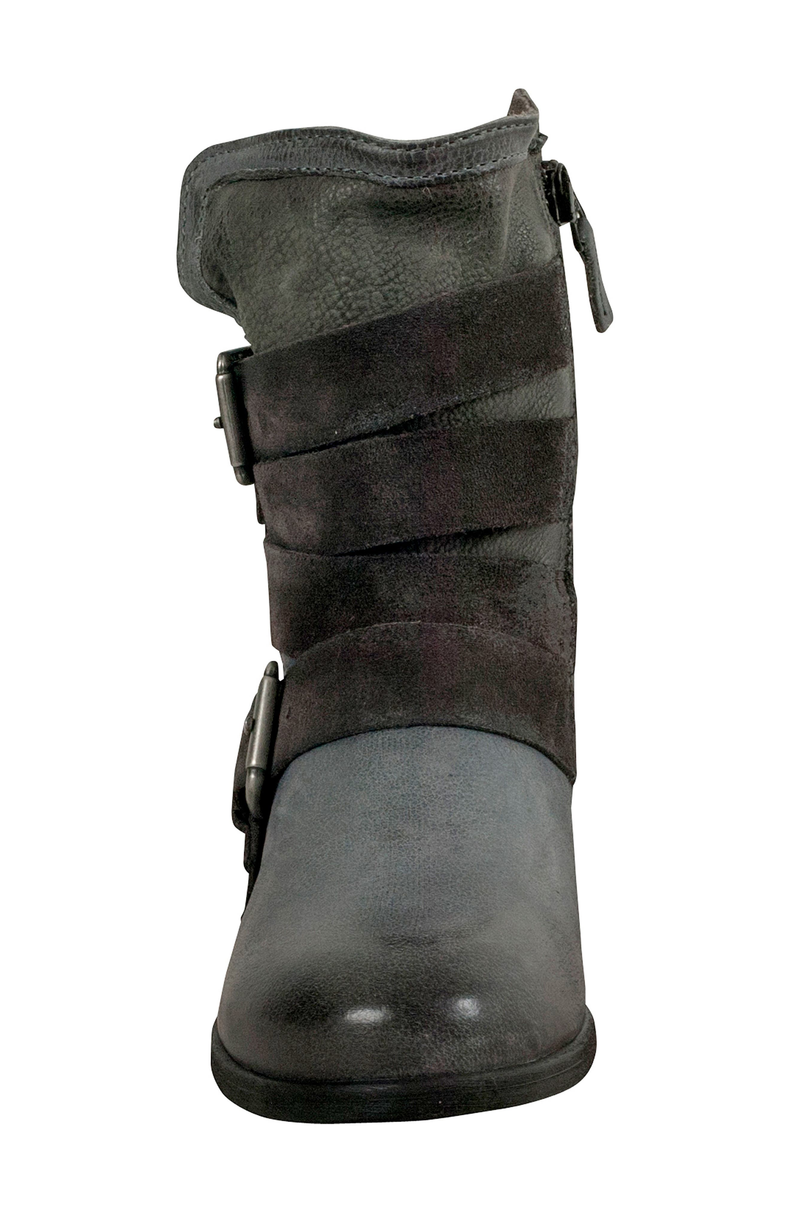 Savvy Buckle Bootie,                             Alternate thumbnail 4, color,                             GRANITE LEATHER