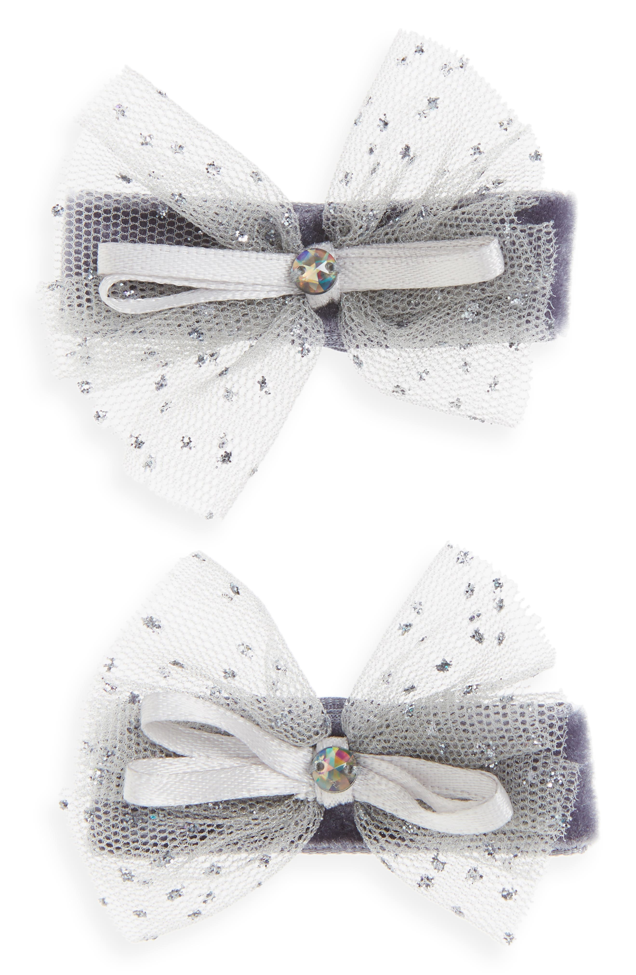 2-Pack Tulle Bow Clips,                             Main thumbnail 1, color,                             020