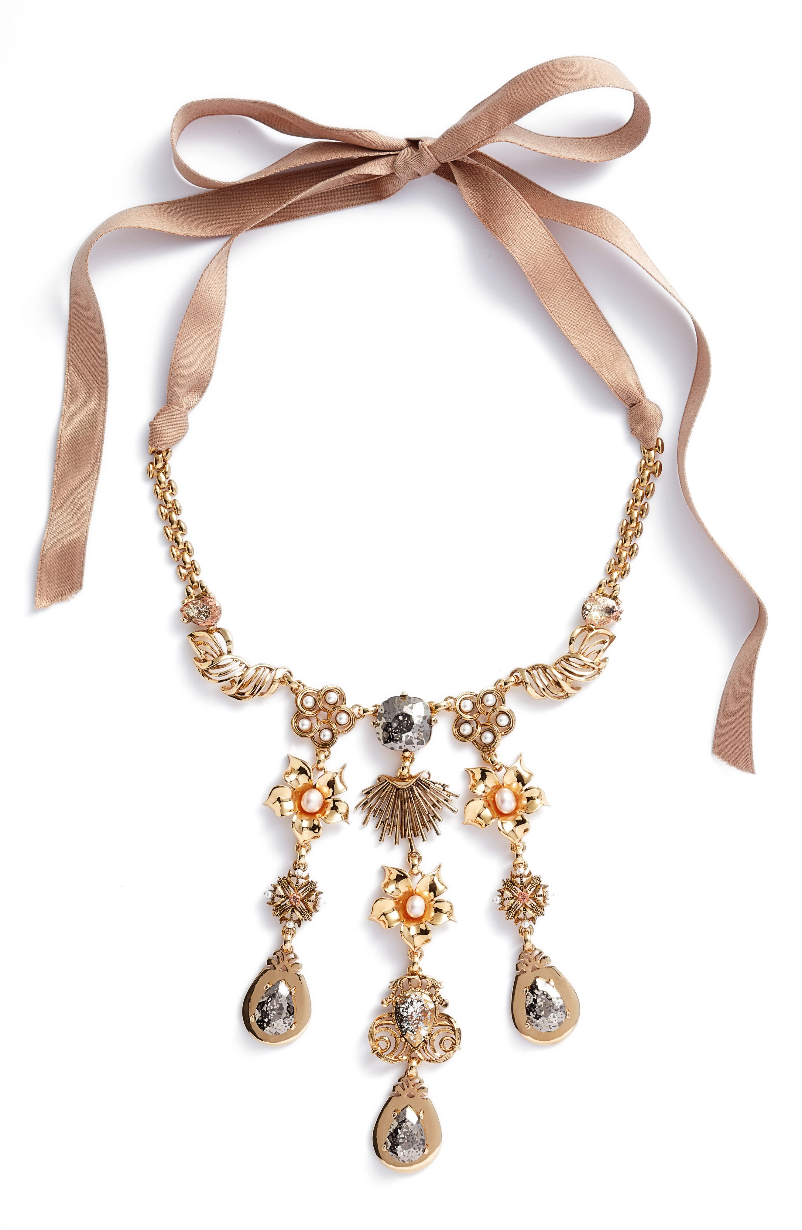 Crystal & Freshwater Pearl Collar Necklace,                         Main,                         color, GOLD