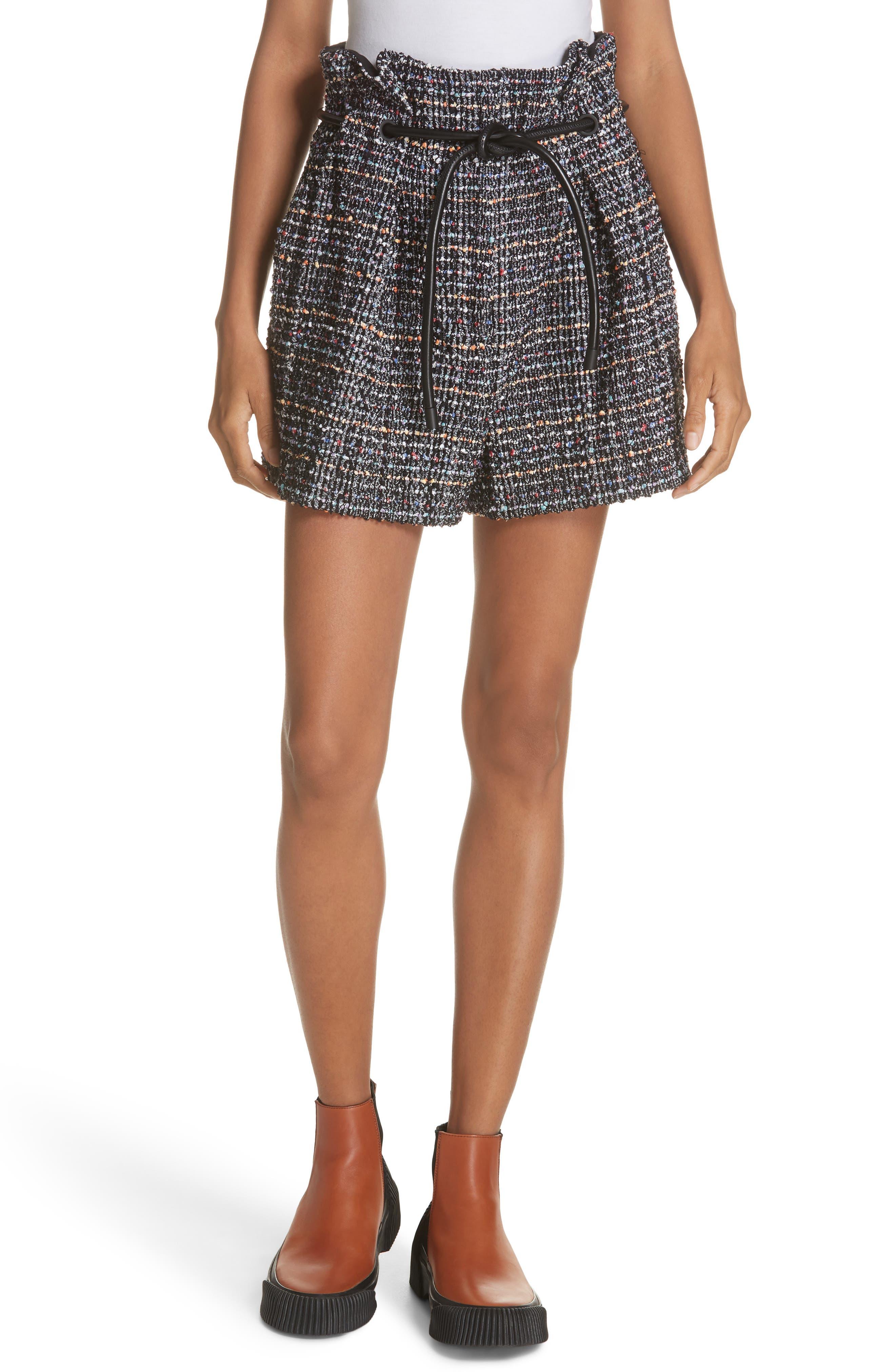 3.1 PHILLIP LIM Paperbag Waist Tweed Shorts, Main, color, 014