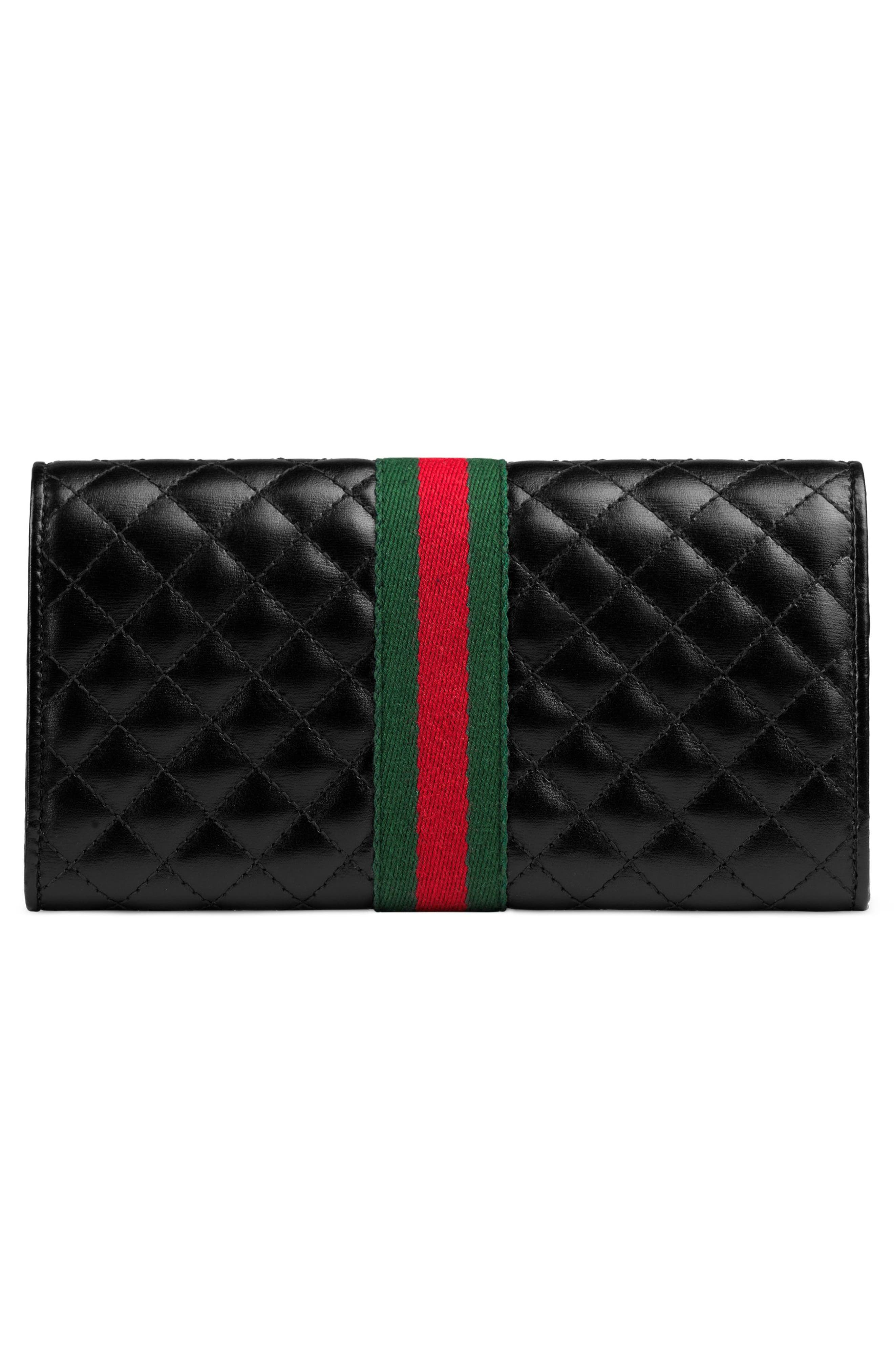 Quilted Leather Continental Wallet,                             Alternate thumbnail 3, color,                             NERO/ VERT/ RED
