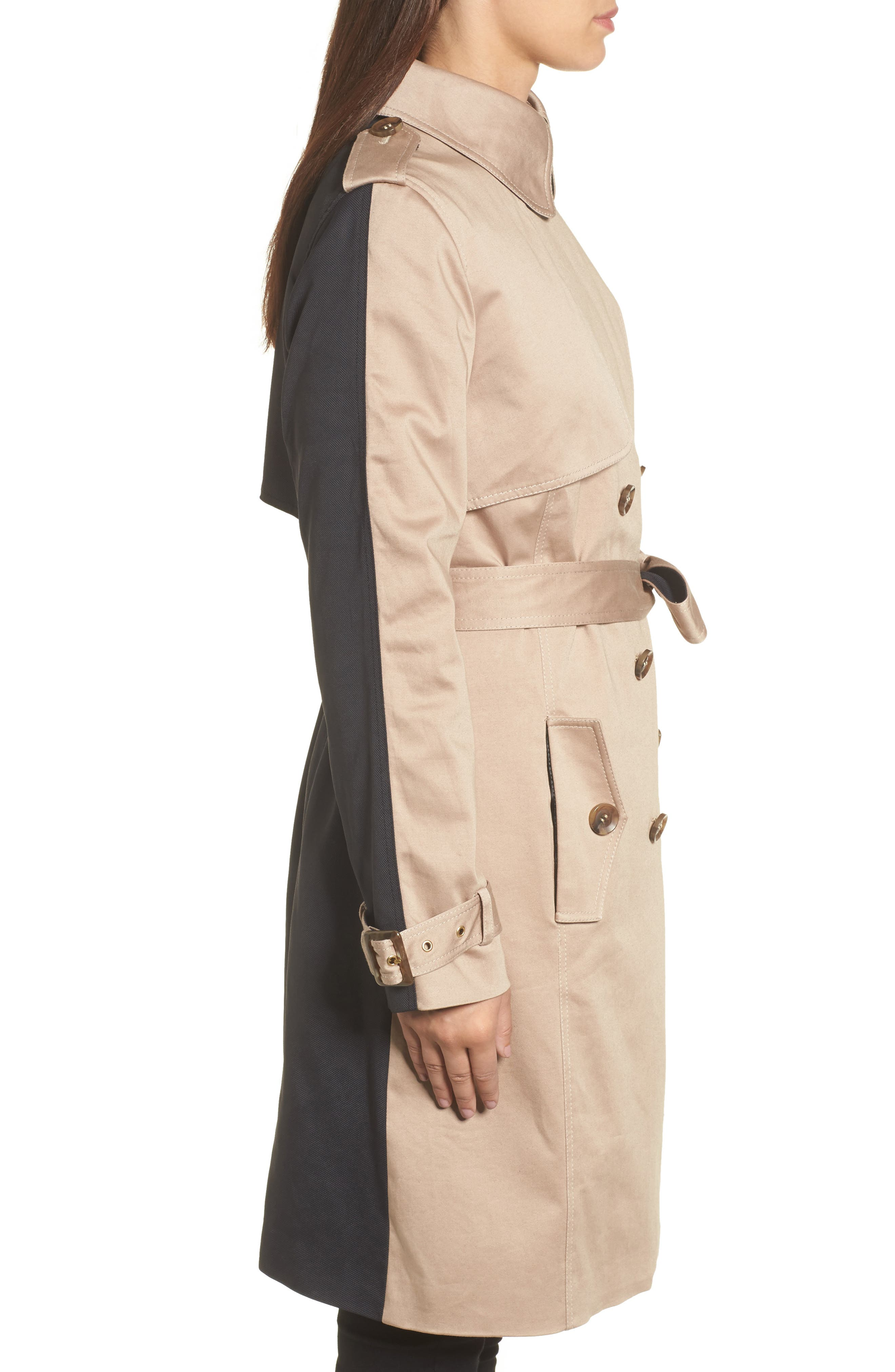 Allison Two-Tone Trench Coat,                             Alternate thumbnail 3, color,                             251