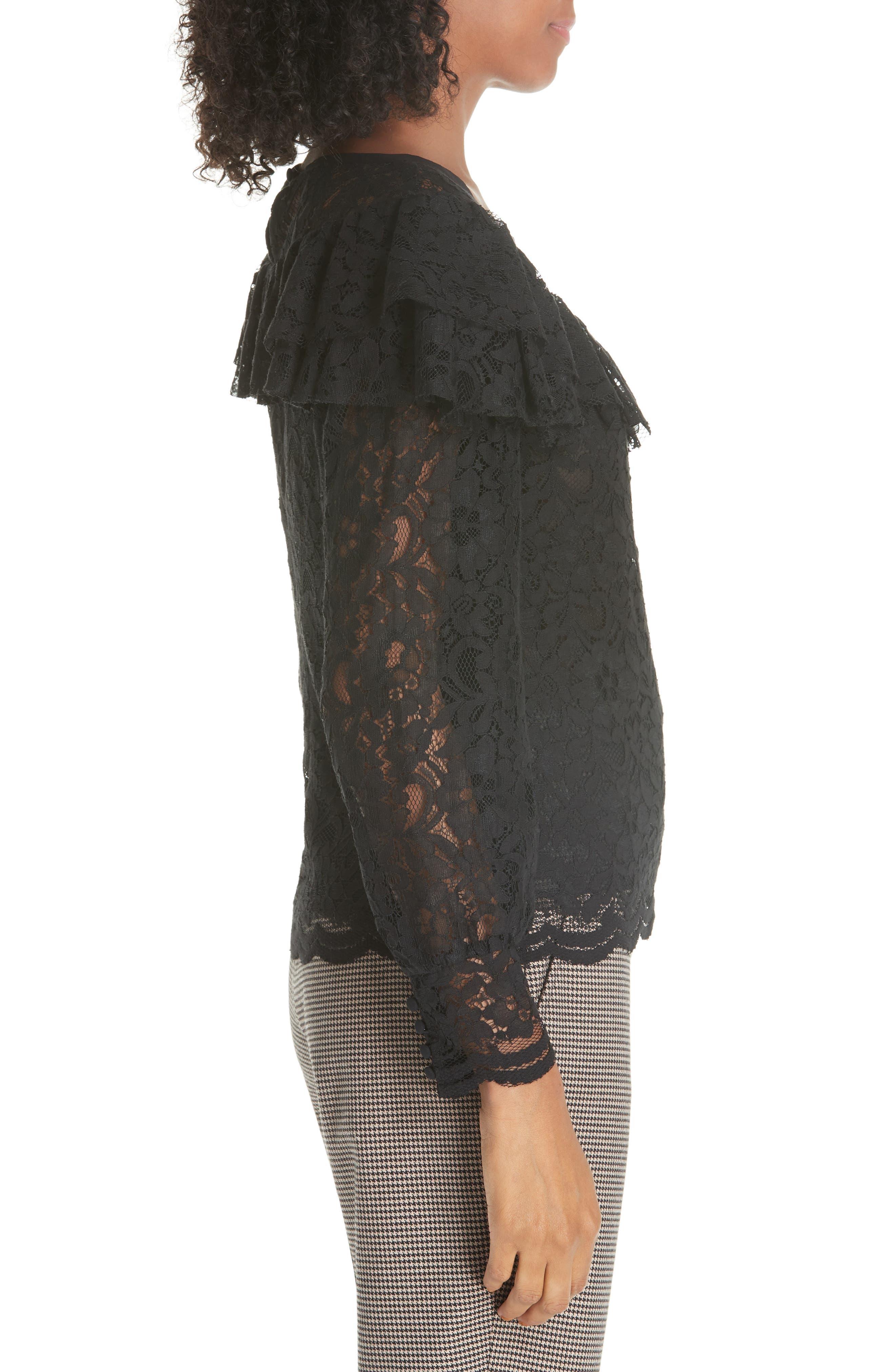 Cotton Blend Lace Ruffle Blouse,                             Alternate thumbnail 3, color,                             001