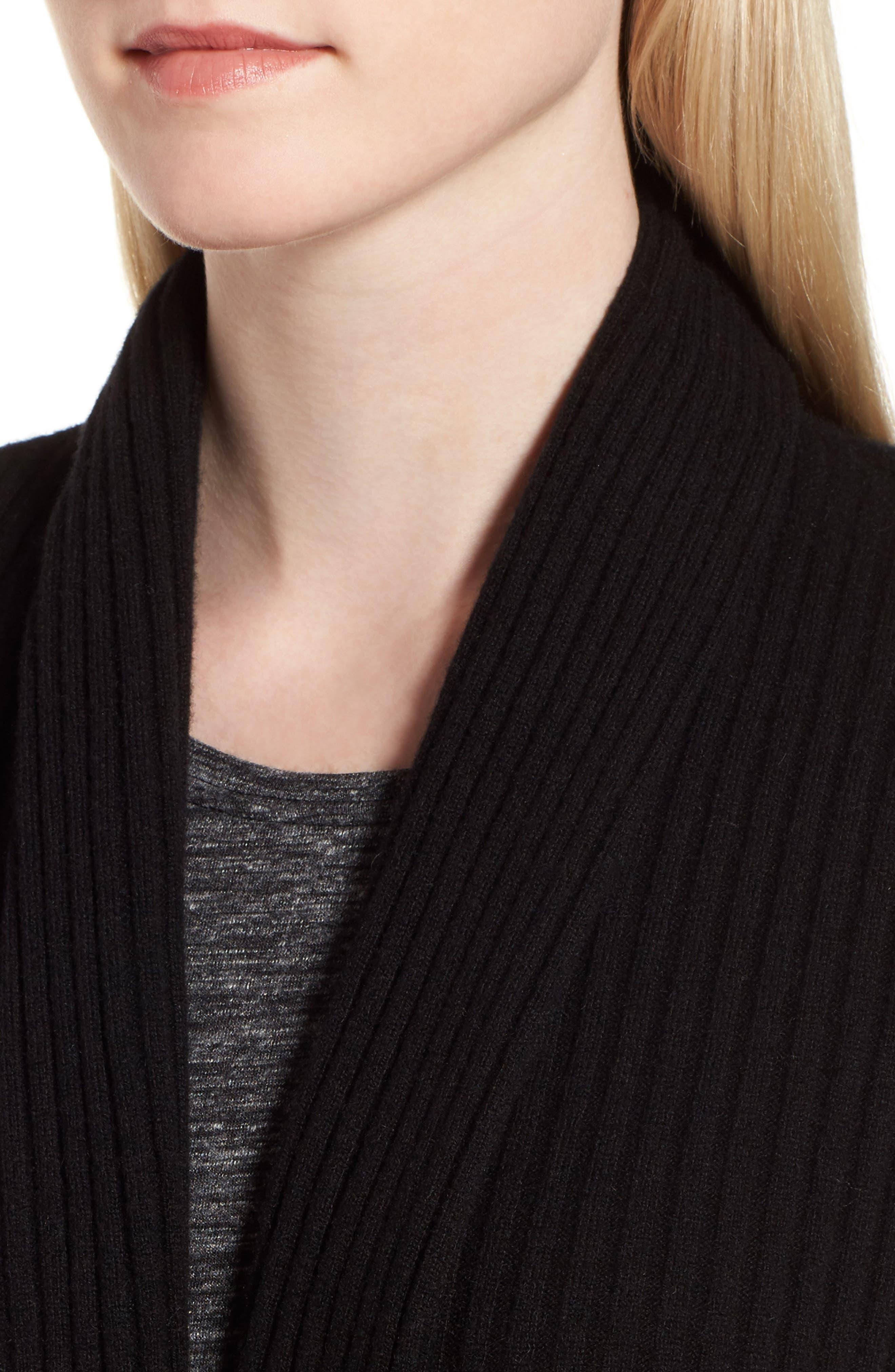 Rib Knit Cashmere Cardigan,                             Alternate thumbnail 4, color,                             002
