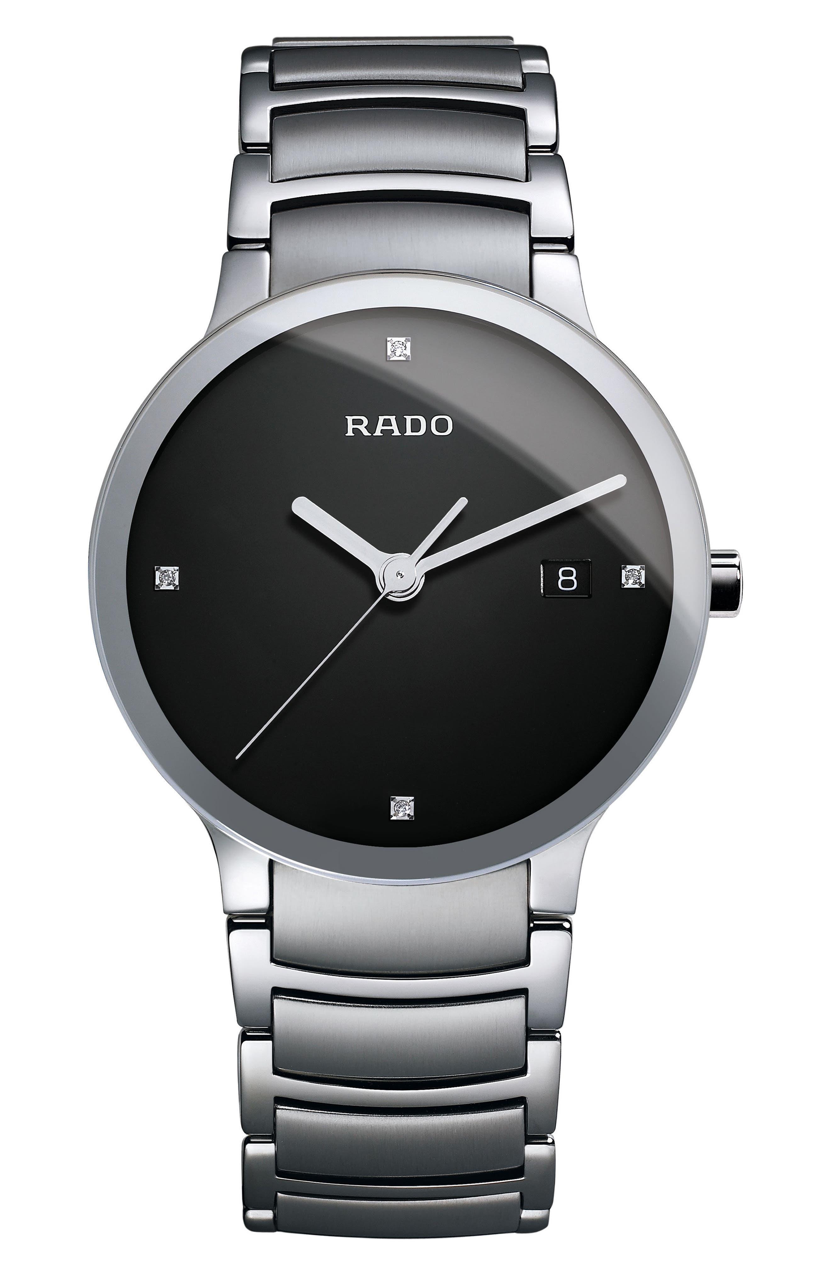 RADO,                             Centrix Diamond Bracelet Watch, 38mm,                             Main thumbnail 1, color,                             SILVER/ BLACK/ SILVER
