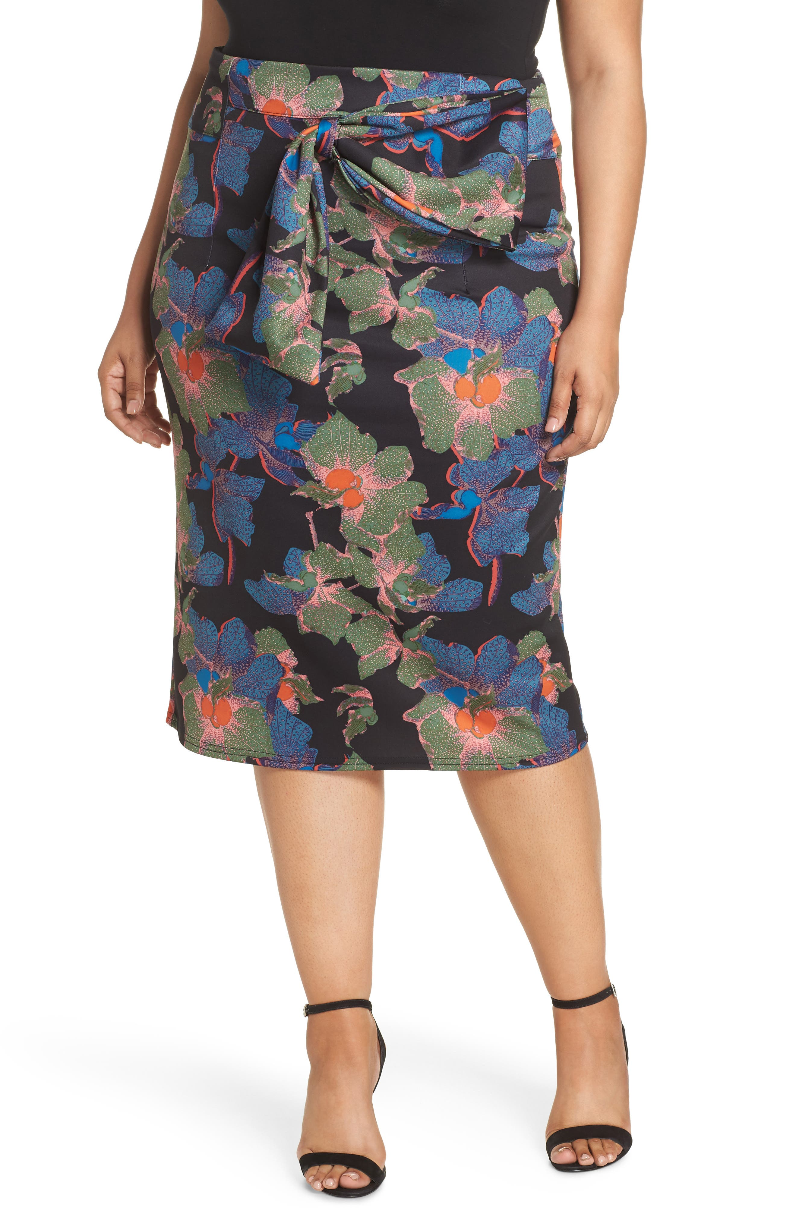 Ivy Floral Bow Detail Pencil Skirt,                         Main,                         color, 300