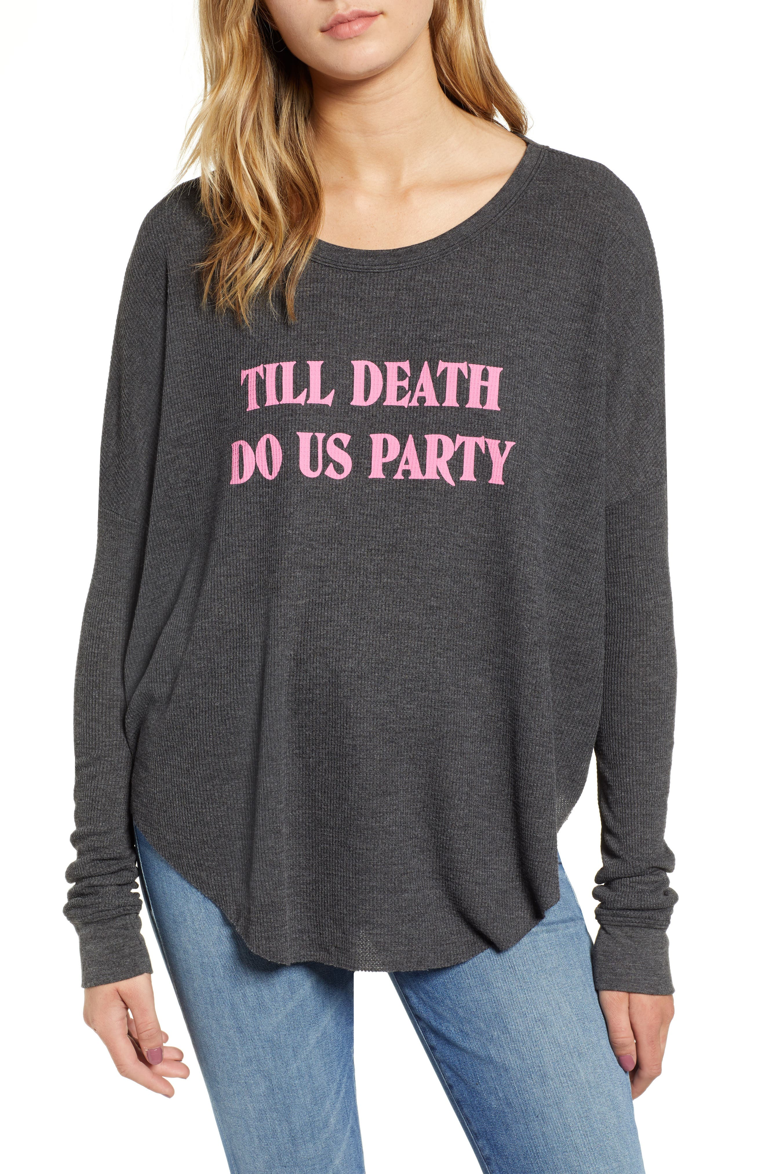 Till Death Do Us Party Thermal Tee,                         Main,                         color, CLEAN BLACK