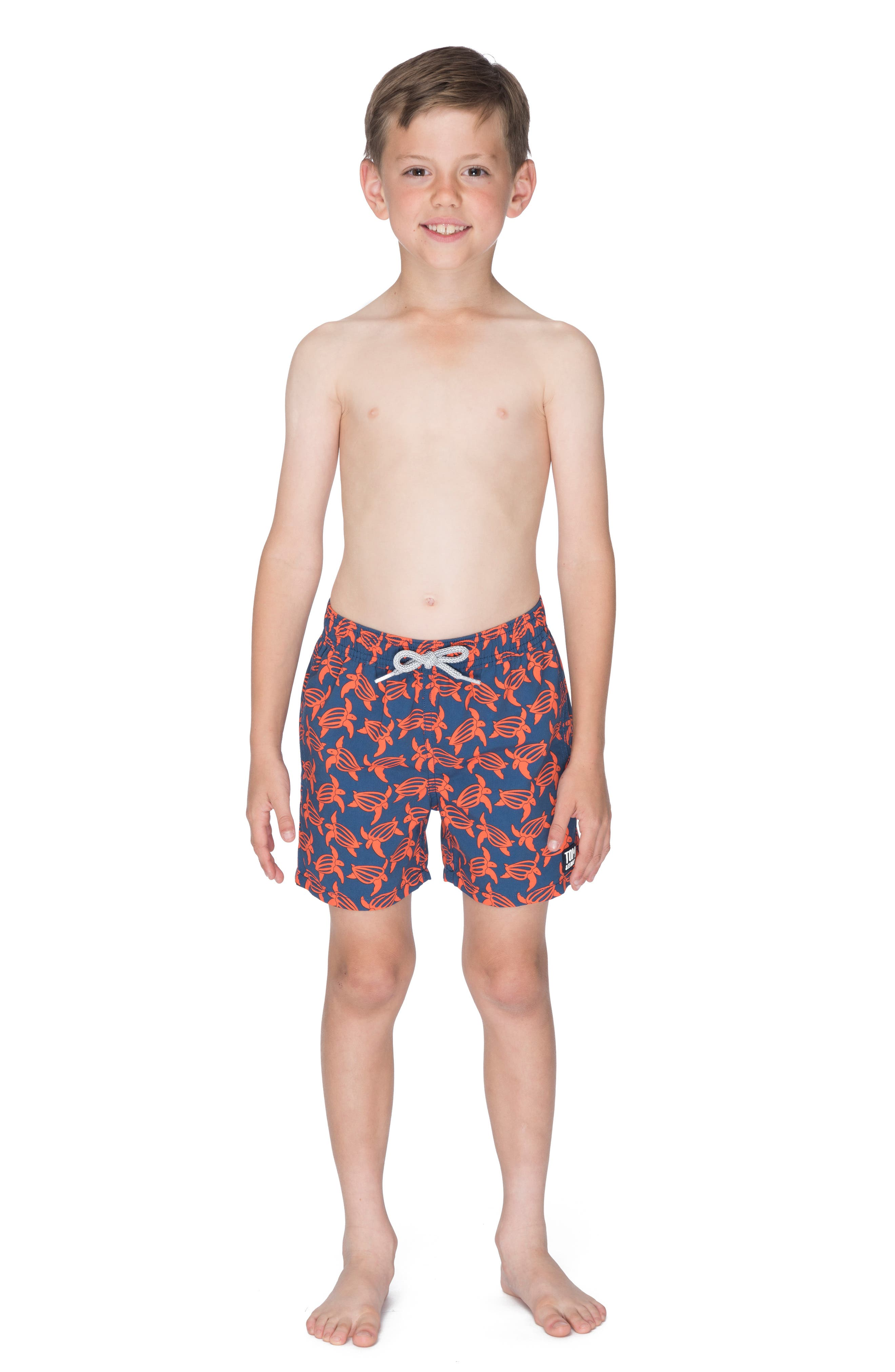 Turtle Swim Trunks,                             Alternate thumbnail 2, color,                             NAVY/ ORANGE