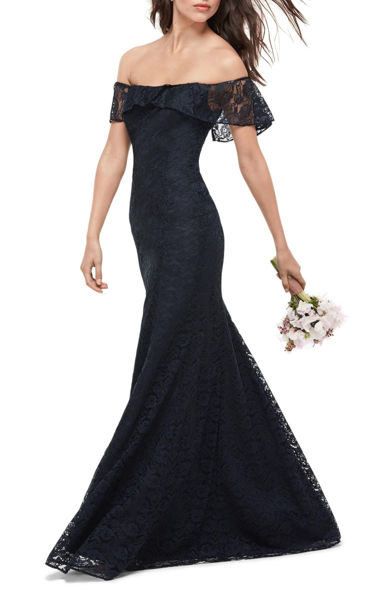 Amour Lace Off the Shoulder Gown,                             Main thumbnail 1, color,