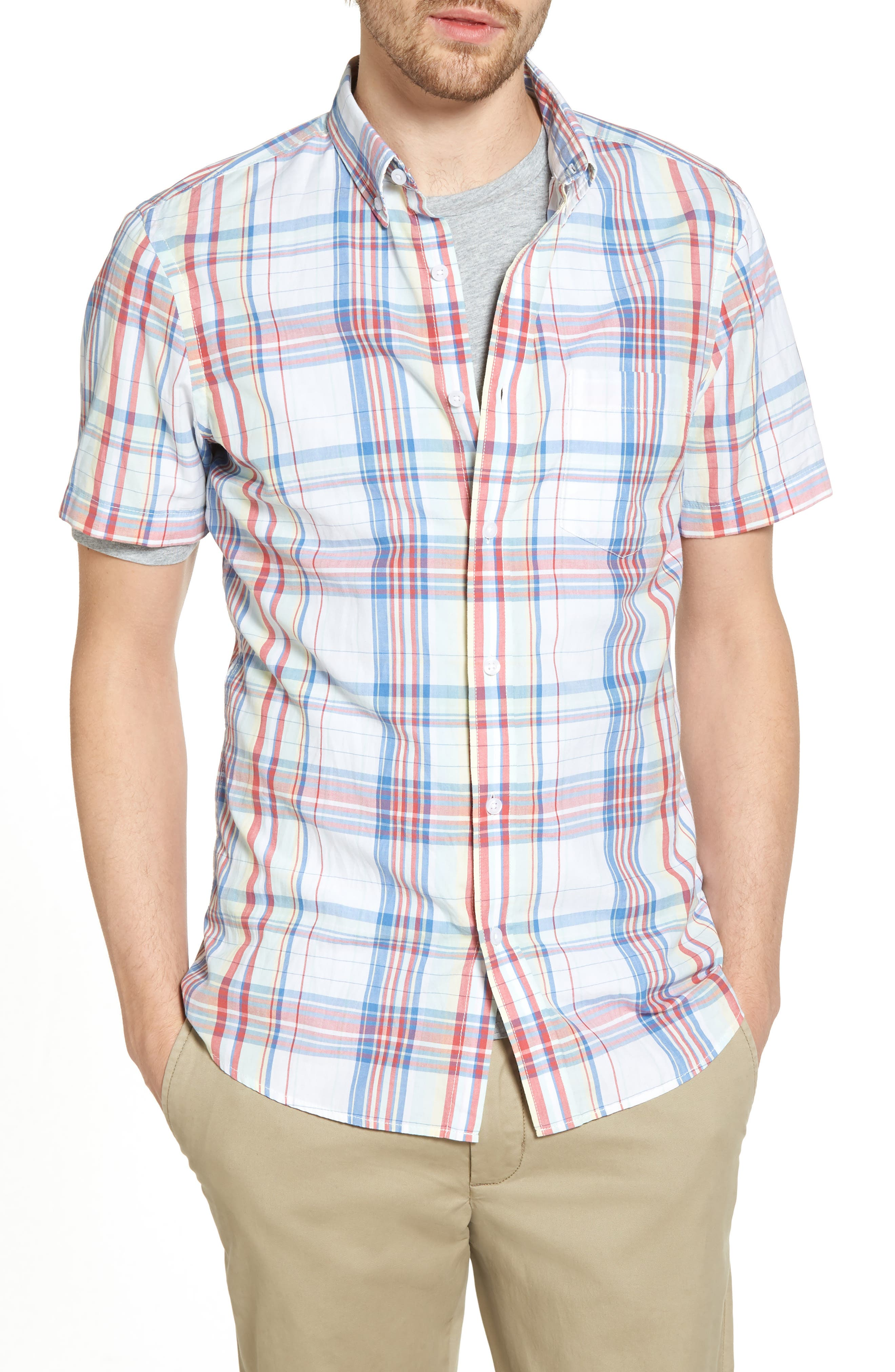 Trim Fit Plaid Short Sleeve Sport Shirt,                             Main thumbnail 1, color,