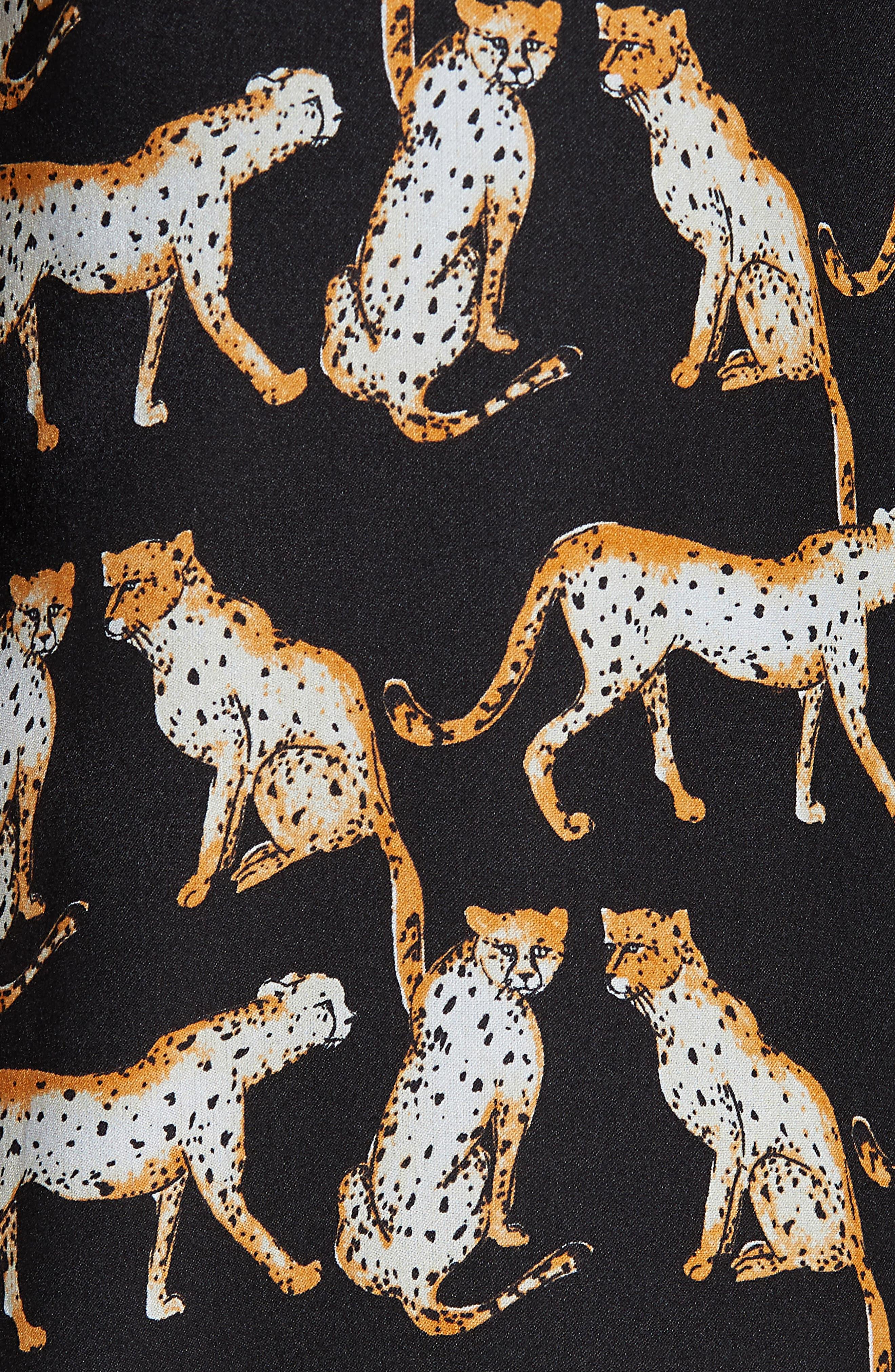 MILLY,                             Cheetah Print High Neck Silk Dress,                             Alternate thumbnail 6, color,                             001