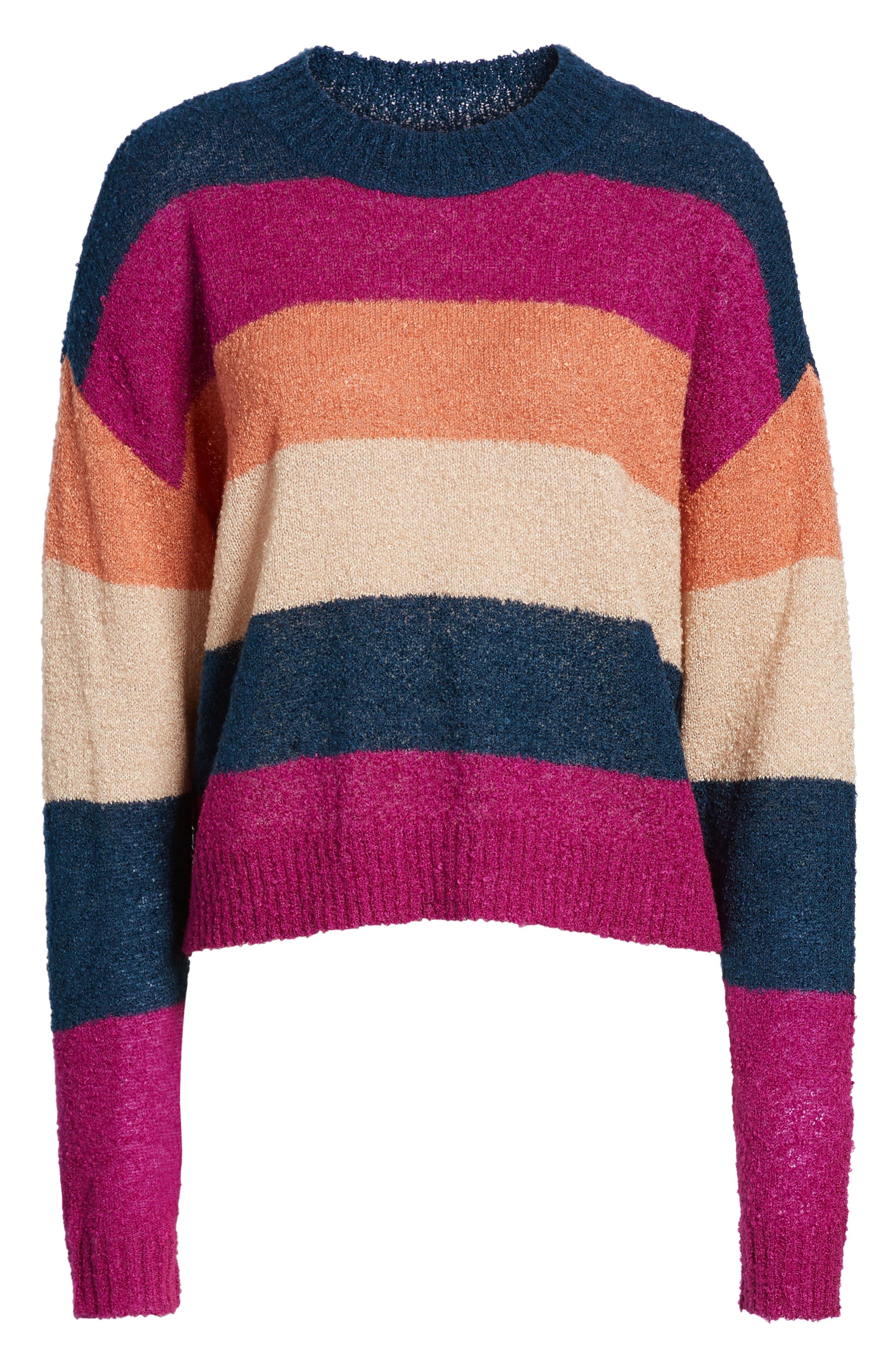 BP.,                             Stripe Bouclé Sweater,                             Alternate thumbnail 6, color,                             420