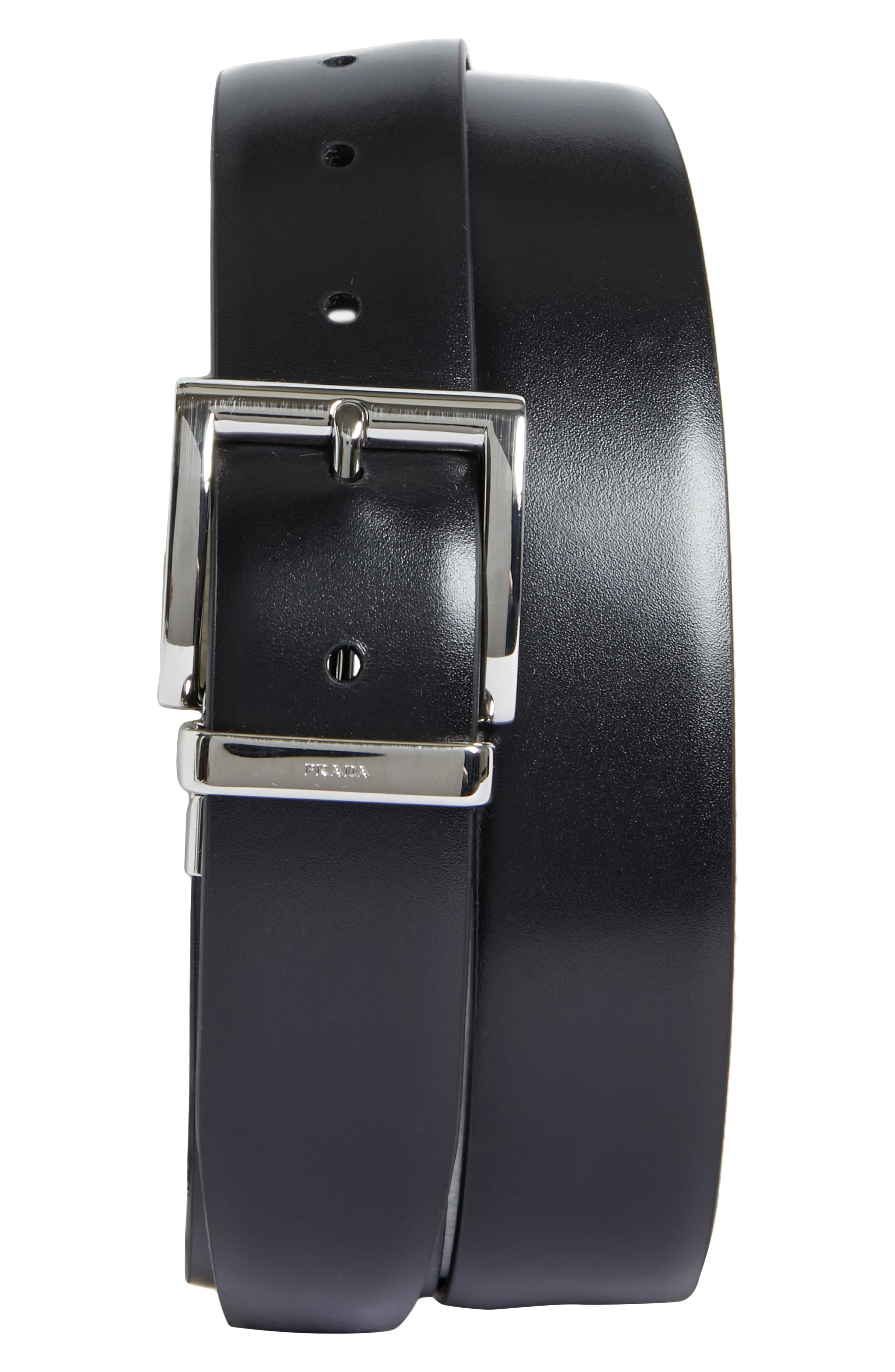 Reversible Leather Belt,                         Main,                         color, NERO