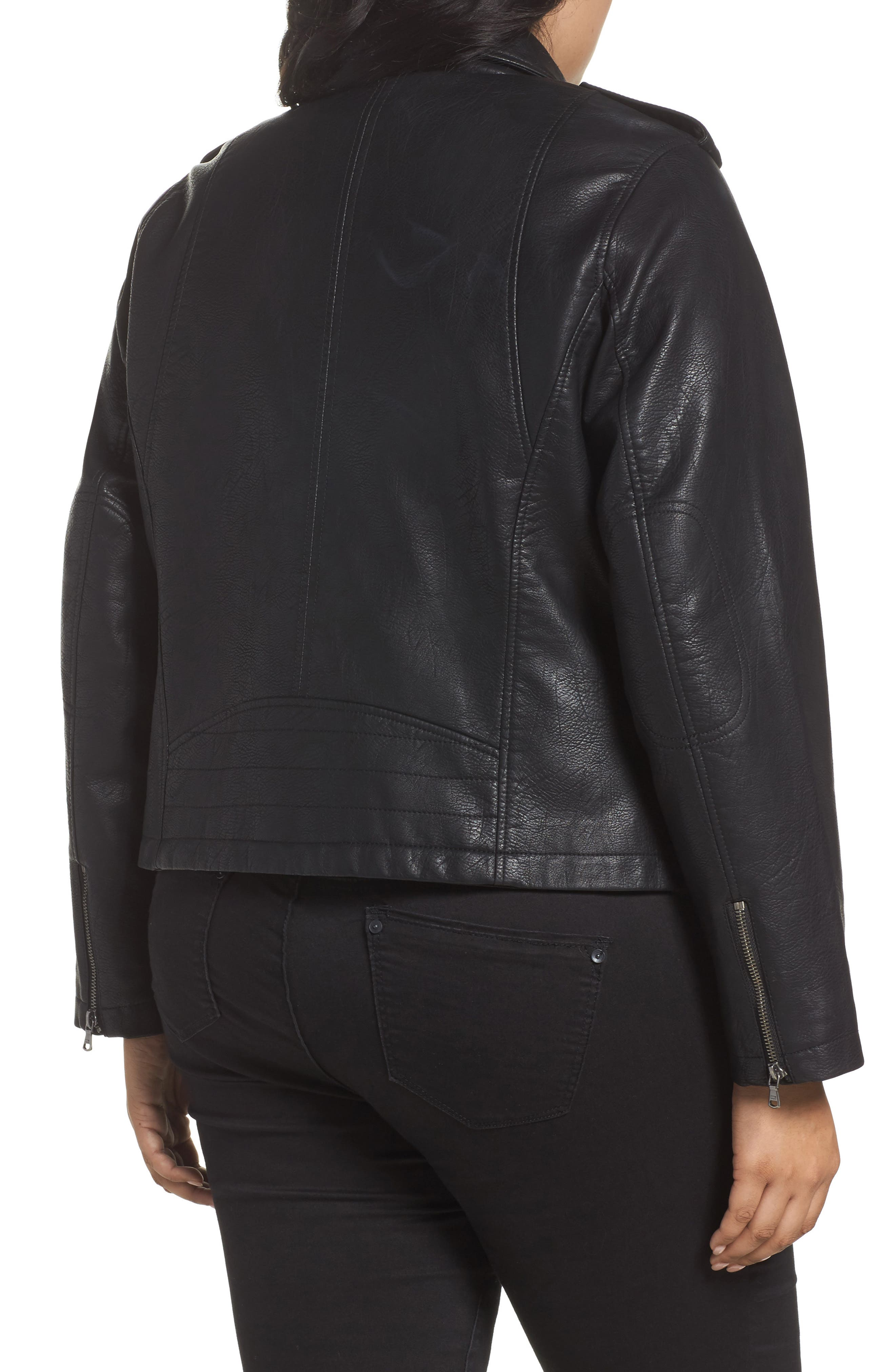 Faux Leather Jacket,                             Alternate thumbnail 2, color,                             BLACK