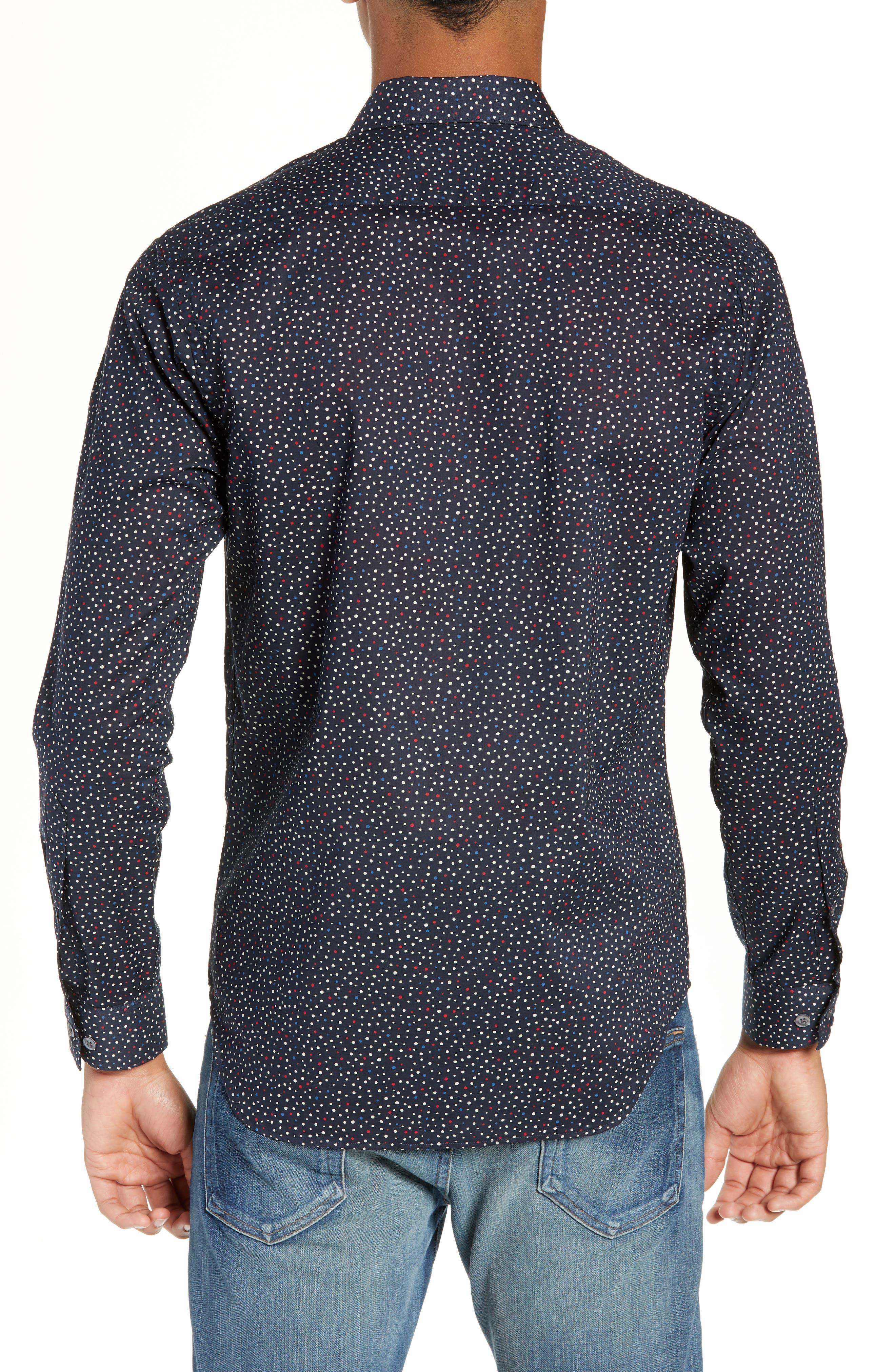 Jenks Slim Fit Long Sleeve Sport Shirt,                             Alternate thumbnail 3, color,                             BLACK