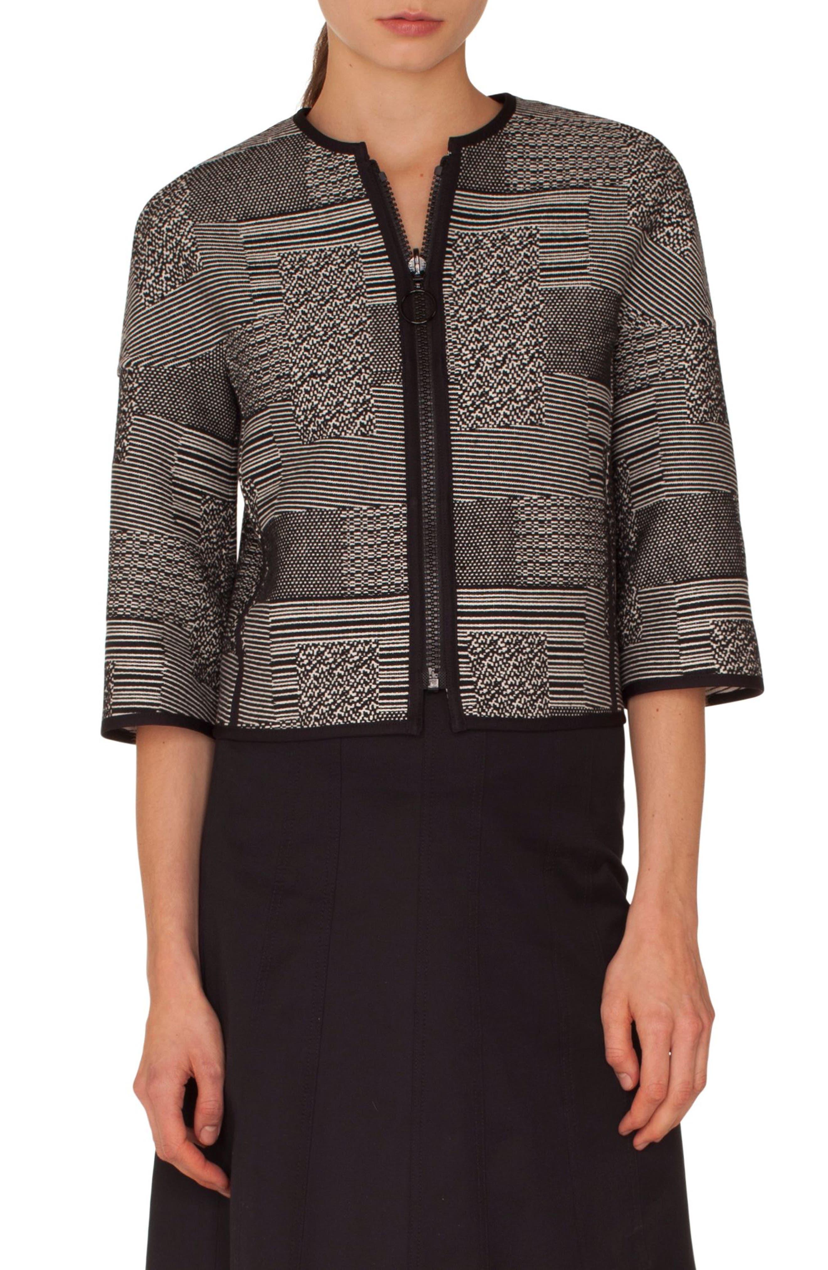 Graphic Jacquard Jacket,                         Main,                         color, SILVER-CREAM