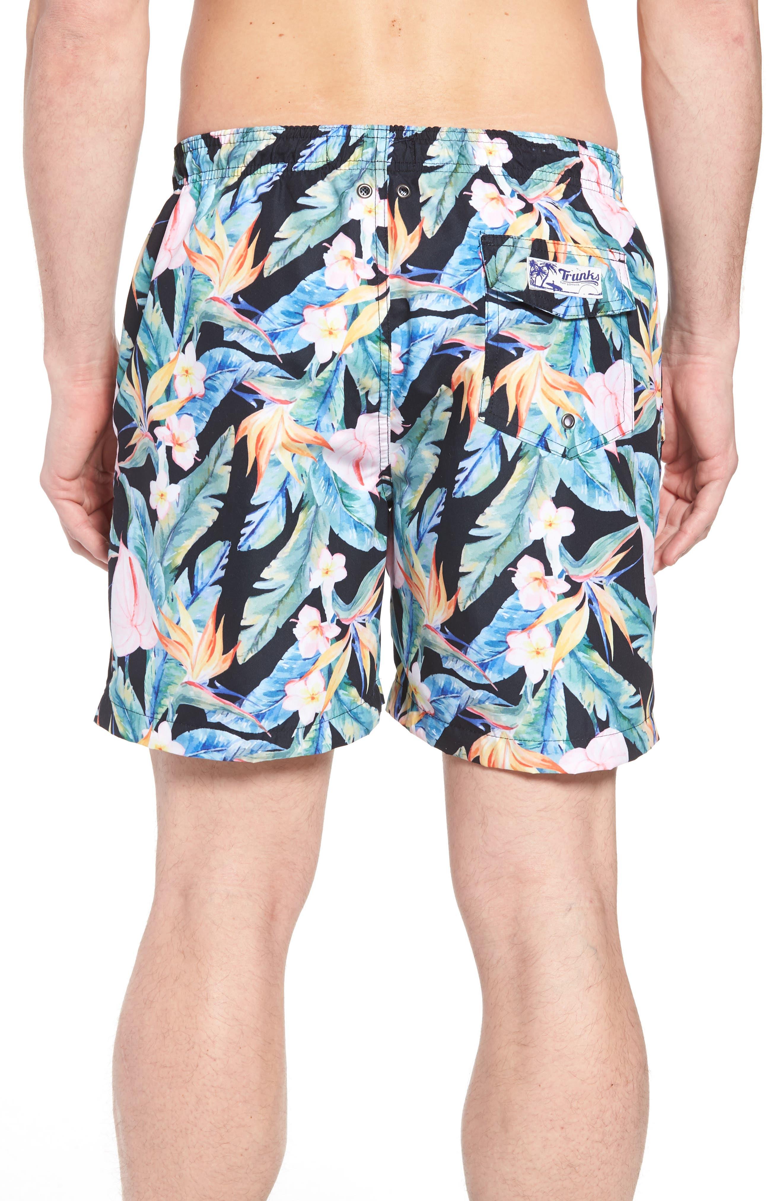 TRUNKS SURF & SWIM CO.,                             Floral Print Swim Trunks,                             Alternate thumbnail 2, color,                             400
