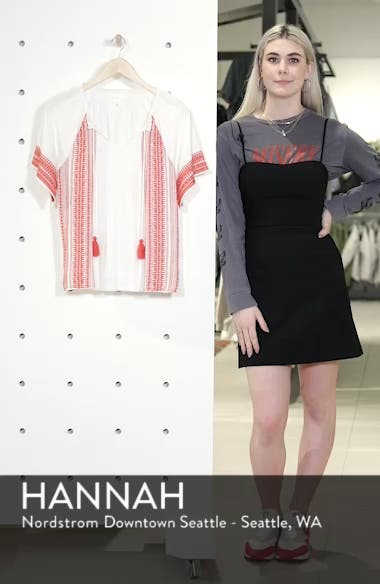 Embroidered Border Peasant Top, sales video thumbnail