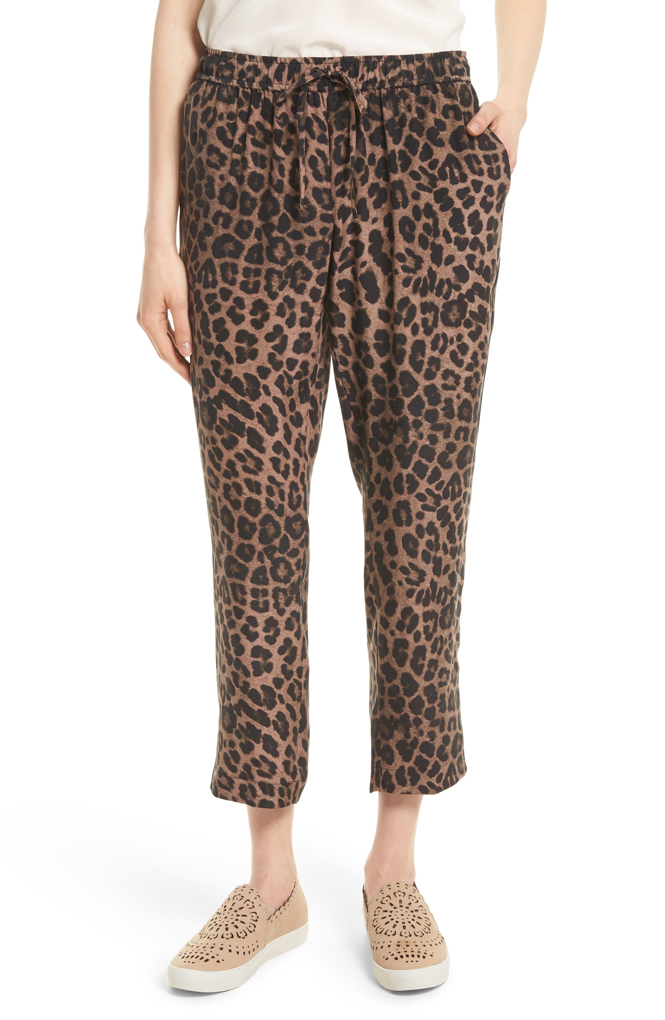 Ayanna B Leopard Print Silk Crop Pants,                             Main thumbnail 1, color,                             005