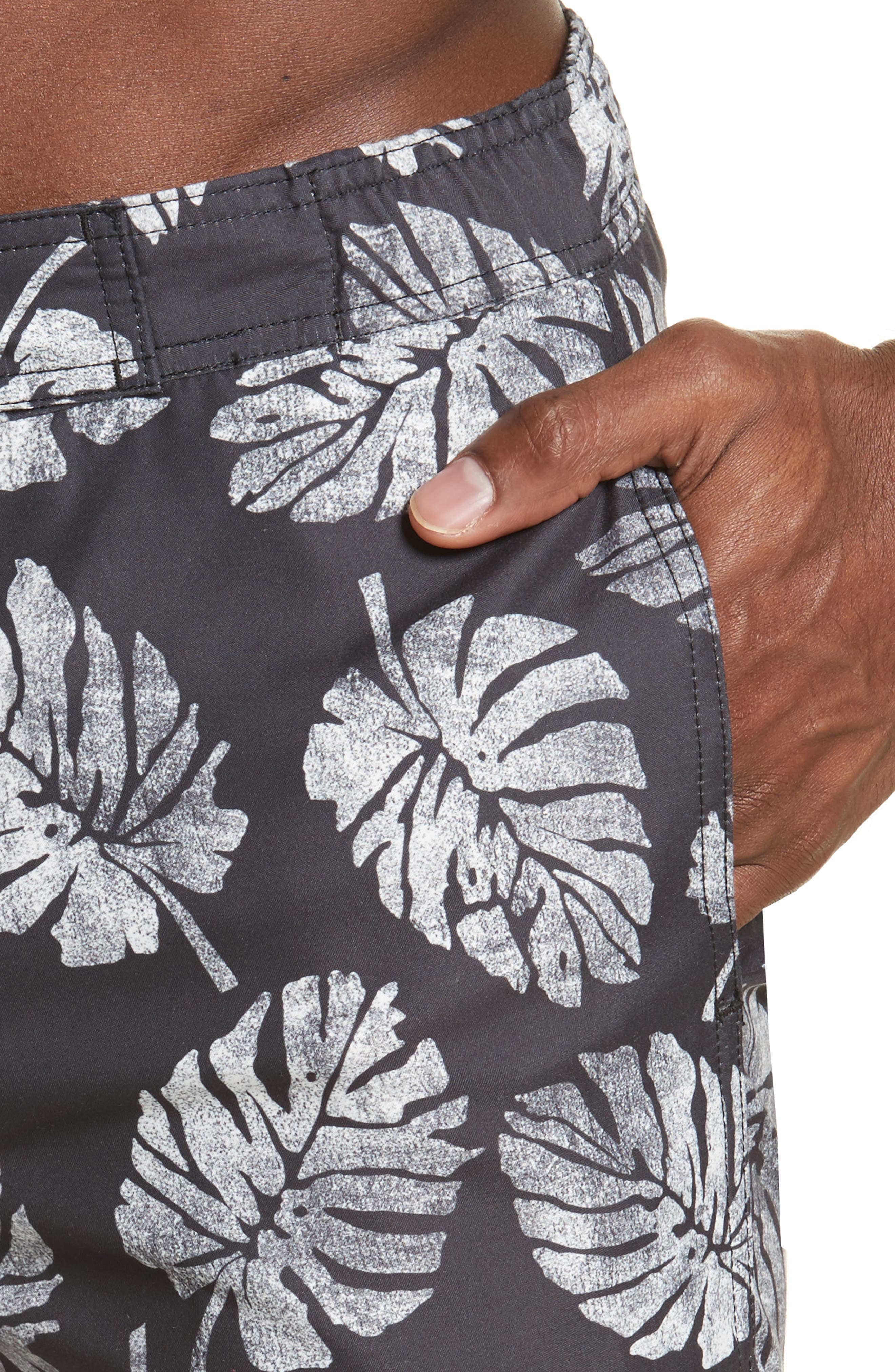 Palm Stamps Alek Board Shorts,                             Alternate thumbnail 4, color,                             CHARCOAL/ WHITE