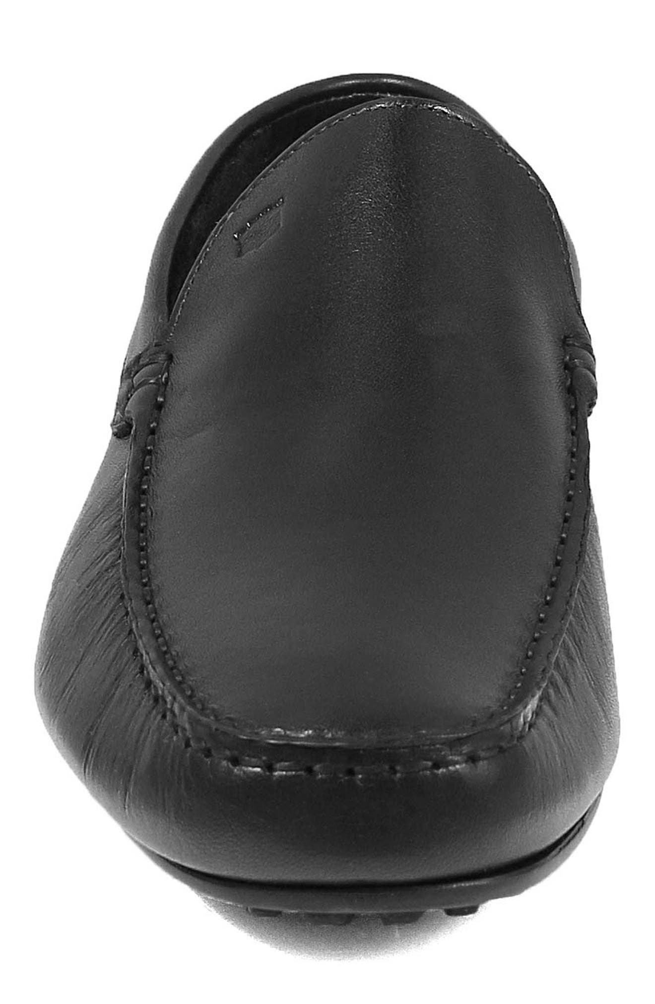 Navono Driving Moccasin,                             Alternate thumbnail 4, color,                             BLACK LEATHER