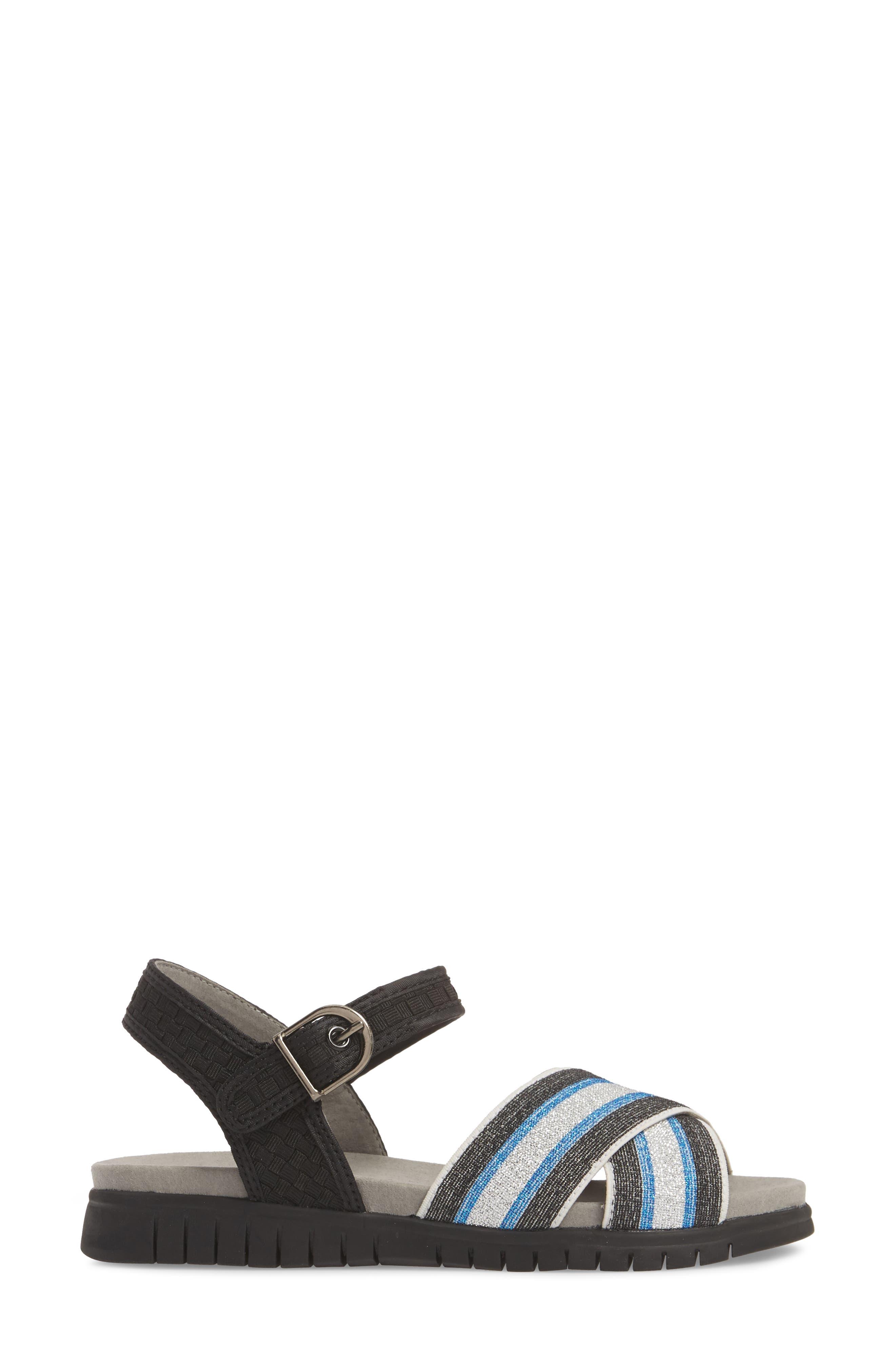 Malibu Sandal,                             Alternate thumbnail 3, color,                             BLACK BLUE STRIPE FABRIC