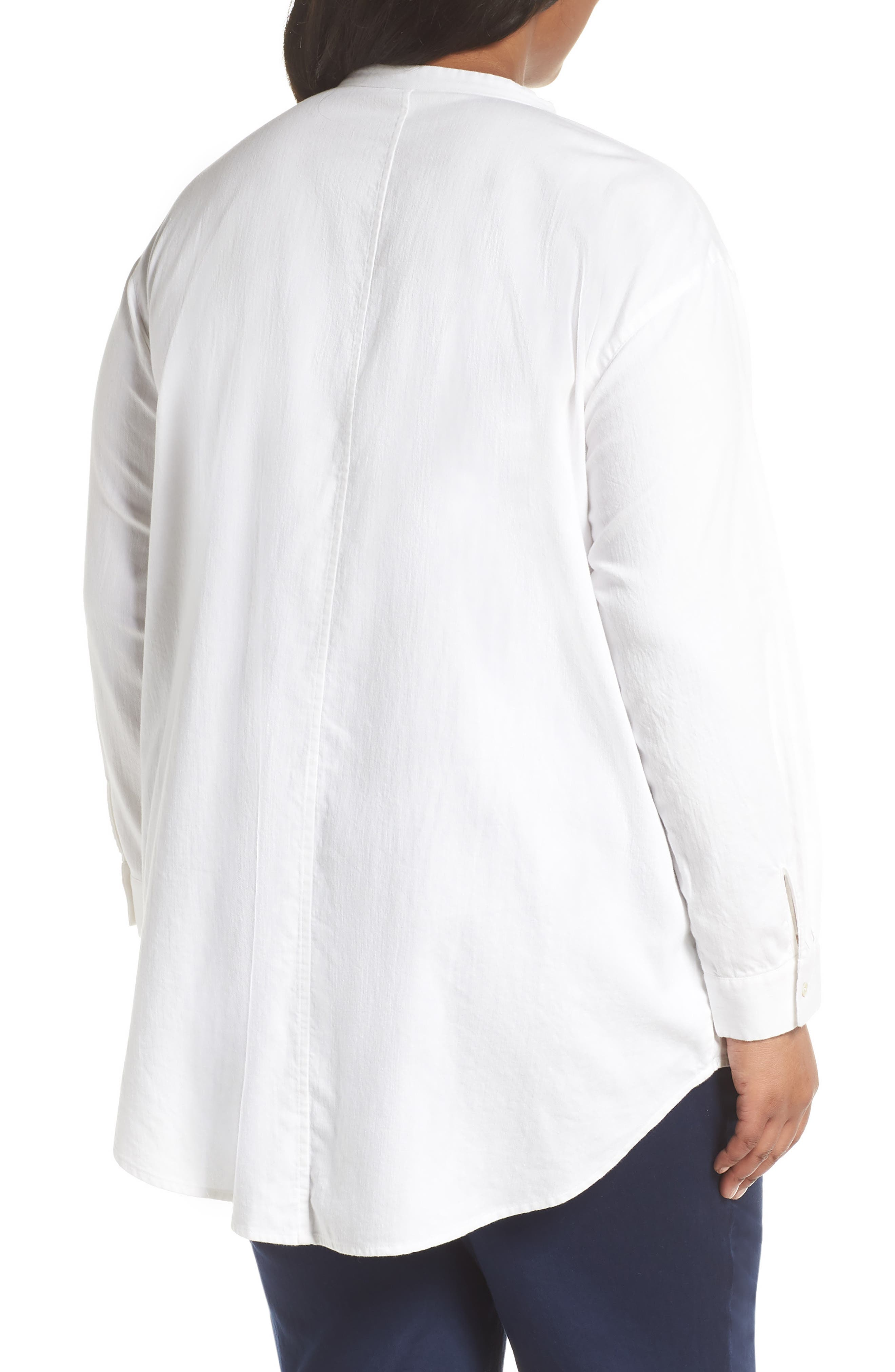 EILEEN FISHER,                             Mandarin Collar Organic Cotton Tunic Shirt,                             Alternate thumbnail 2, color,                             IVORY