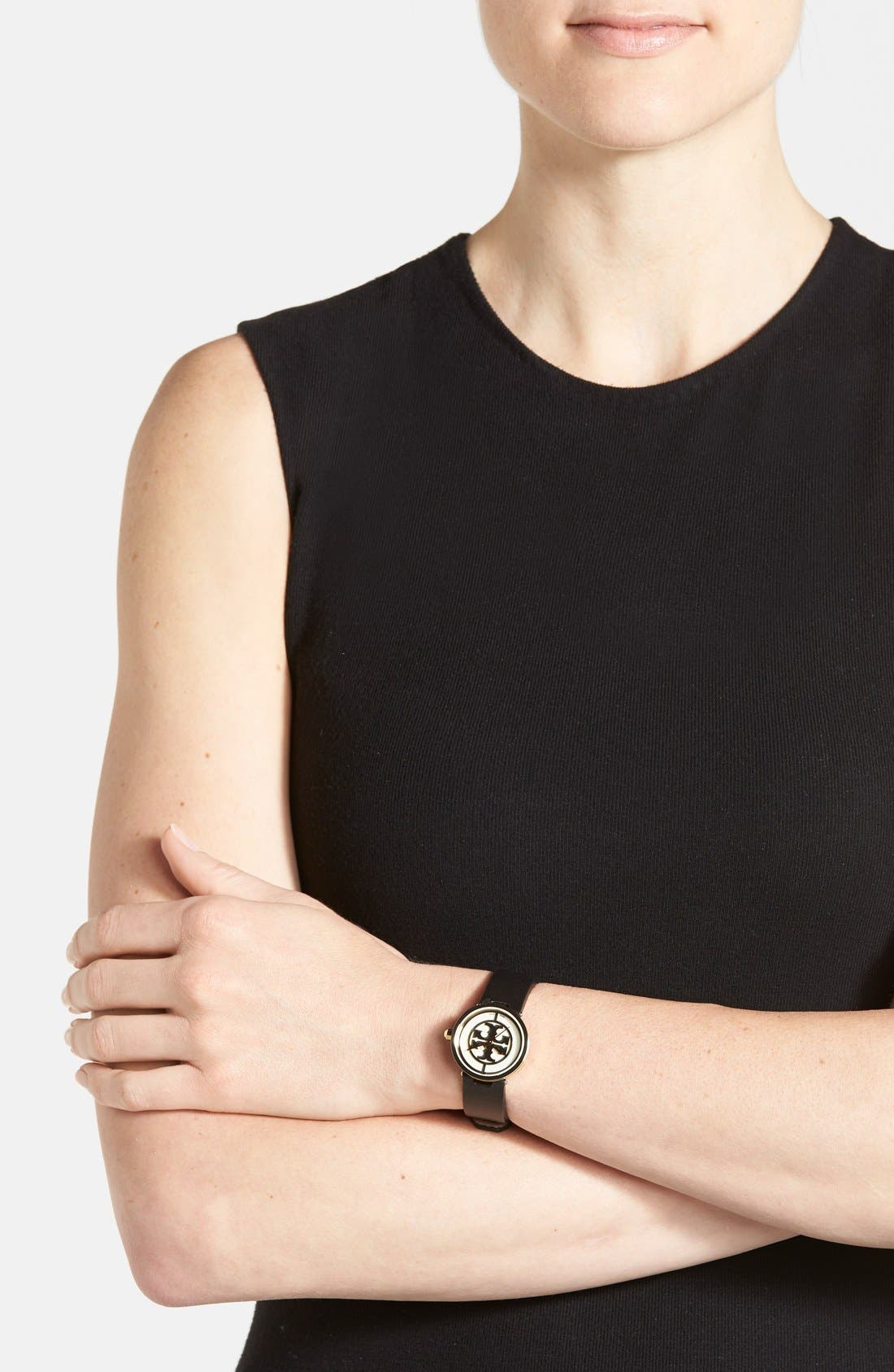 TORY BURCH,                             'Reva' Logo Dial Leather Strap Watch, 28mm,                             Alternate thumbnail 3, color,                             002